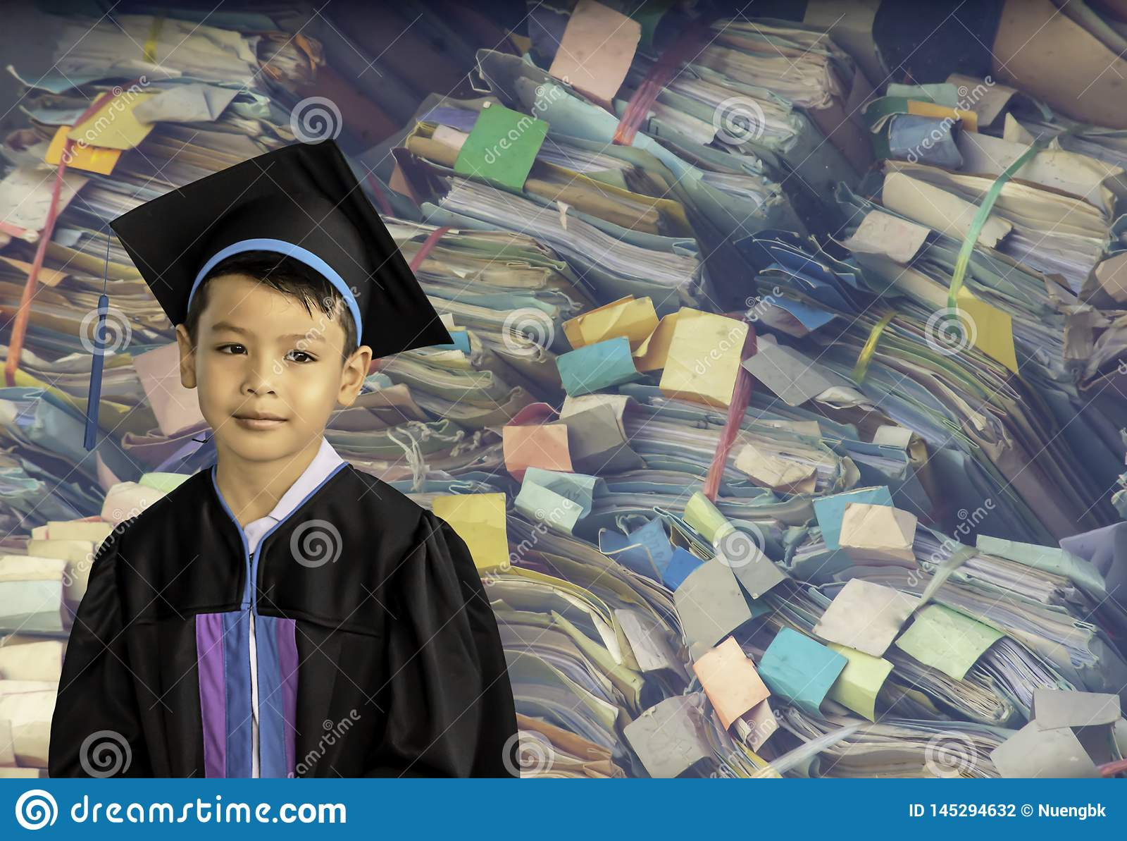 The boy graduated from kindergarten. This study is the first to advance to the next level  Background Colorful Dossier made of