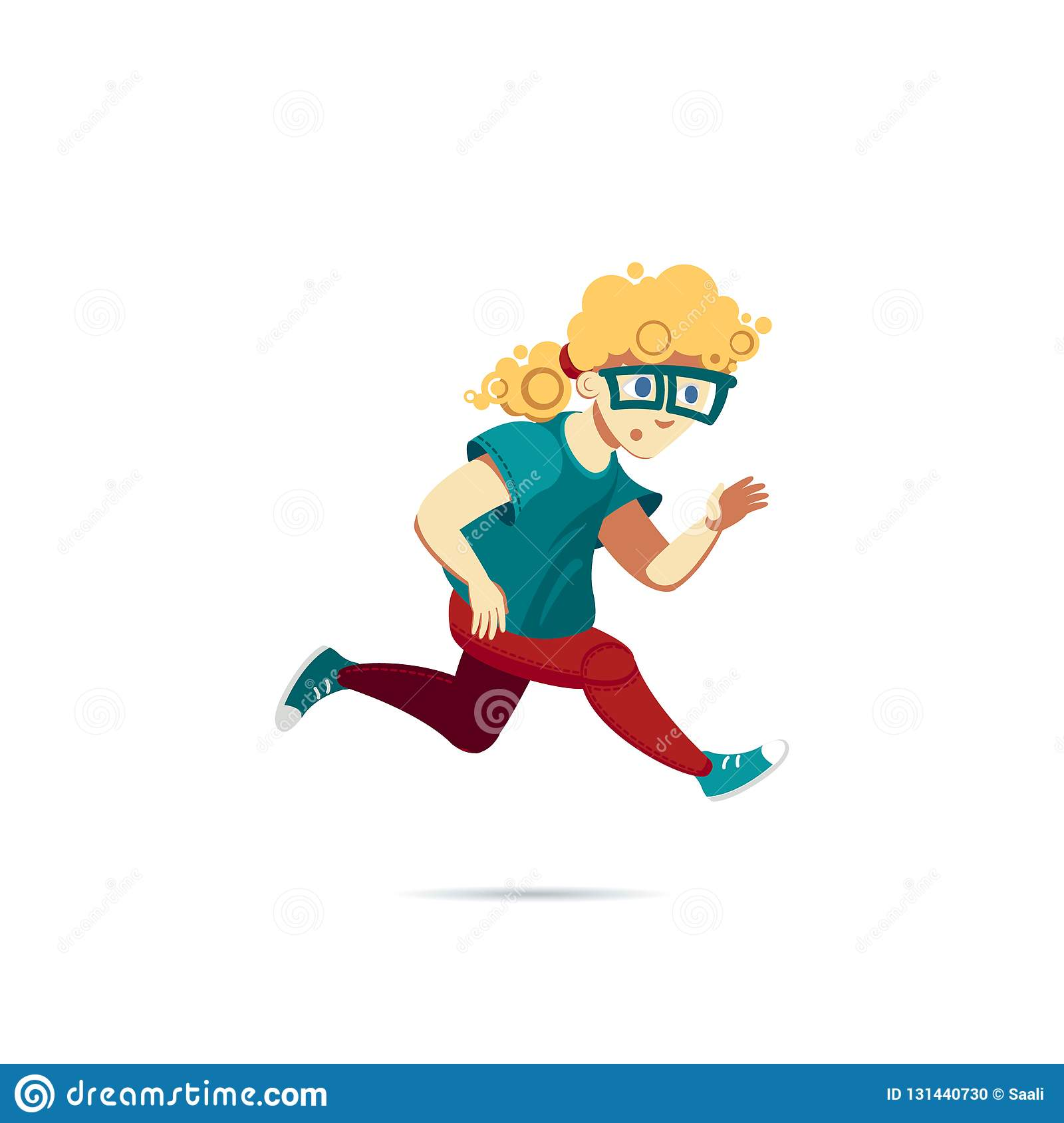 Boy In A Green T Shirt Sneakers And Glasses Running Male Blond