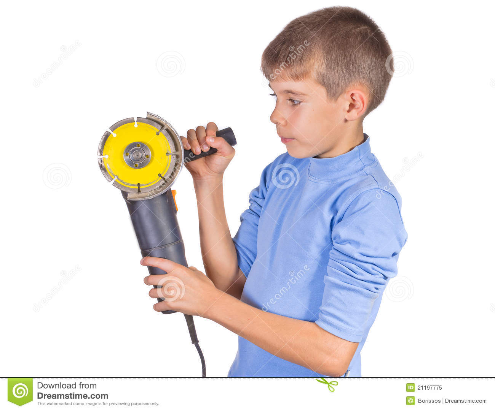 Boy with a grinder