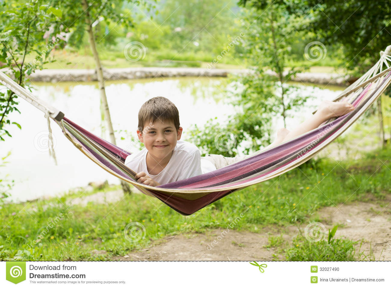 Boy in a hammock on the nature stock photo image 32027490 for Cheerful nature