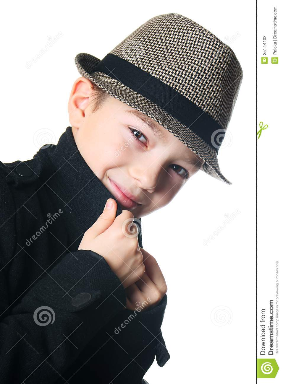 Boy With A Hat Stock Photos Image 35144103