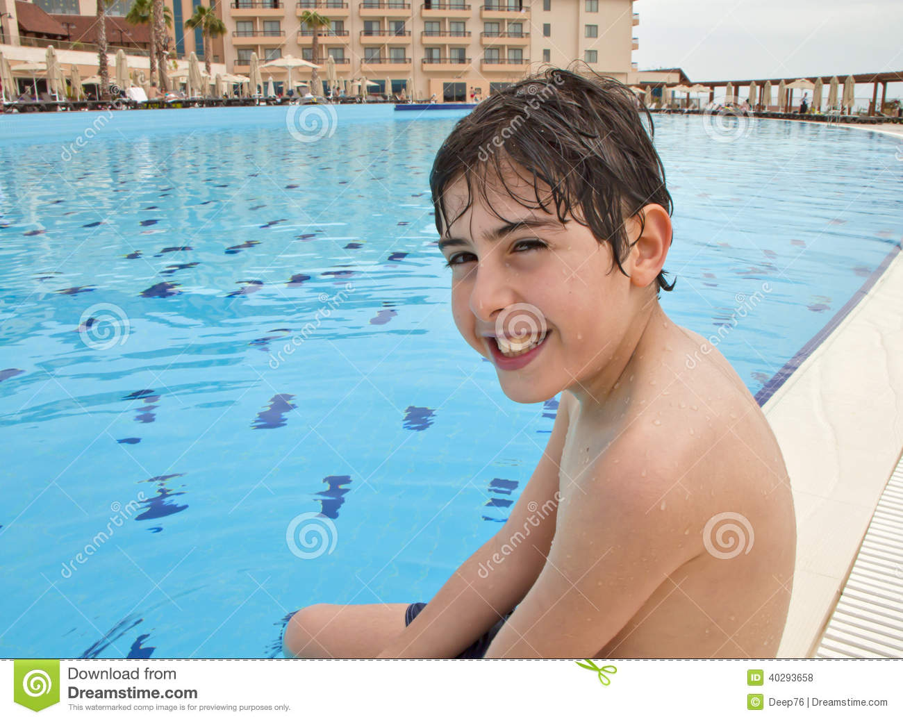 The Boy Is Have Fun In The Swimming Pool Stock Image