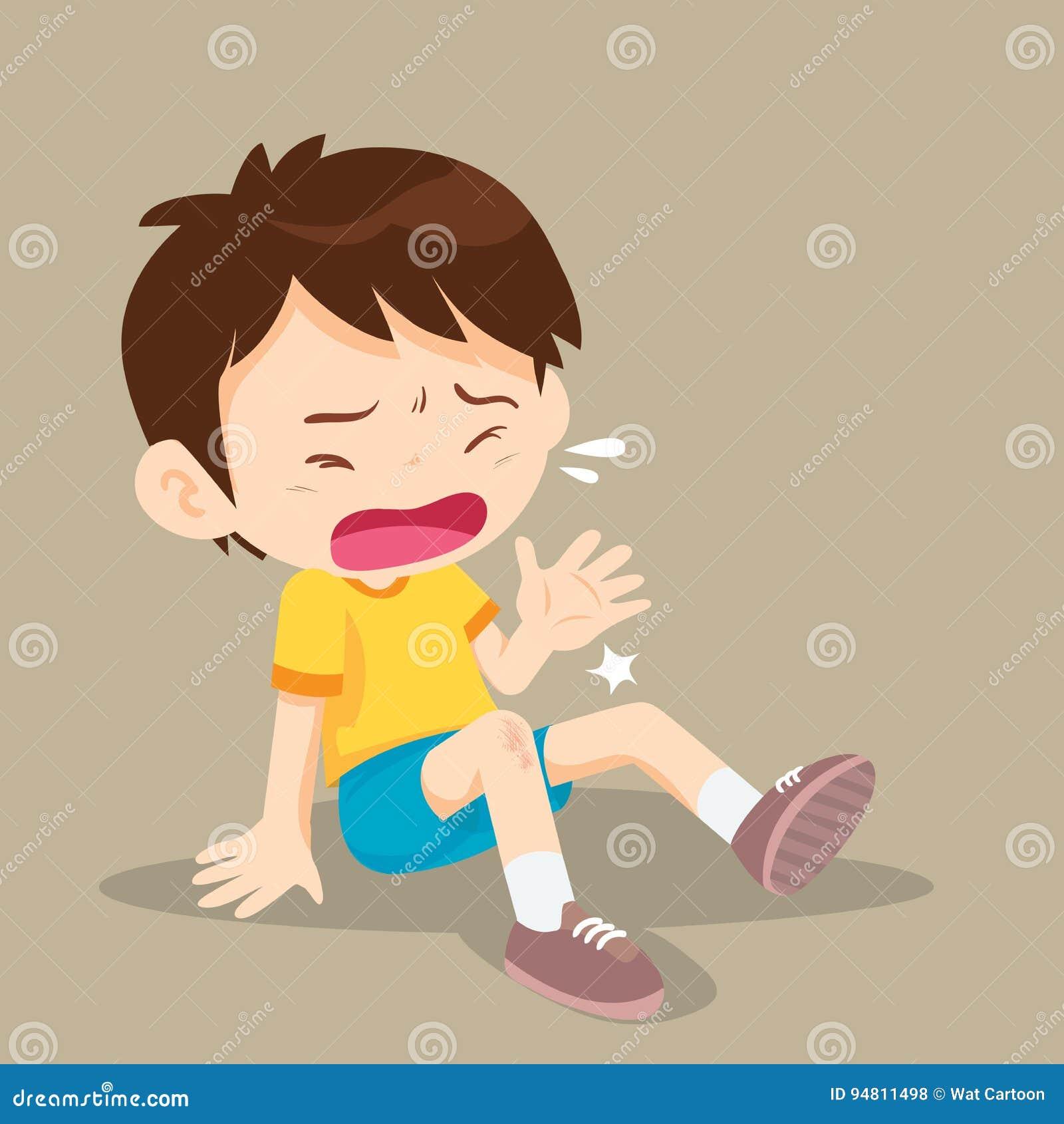 Boy having bruises on his leg