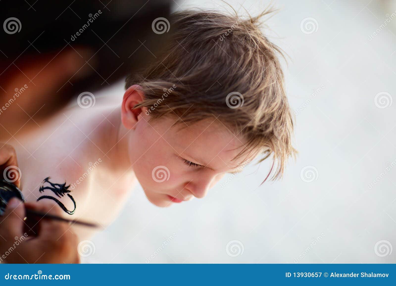 Boy Having Henna Tattoo Stock Image Image Of Henna Vacation 13930657