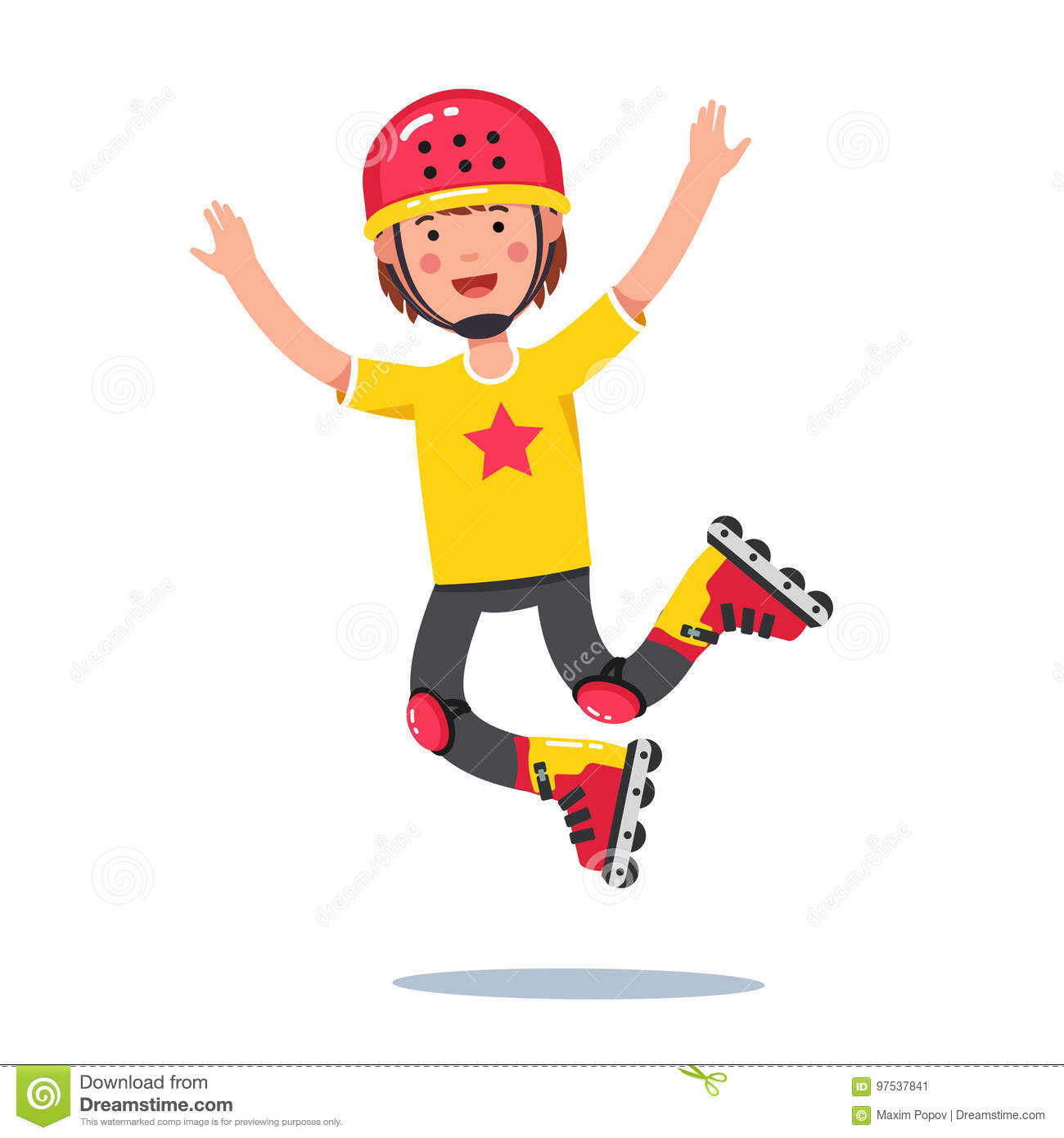Boy In Helmet Jumping And Rolling On Roller Blades Stock Vector