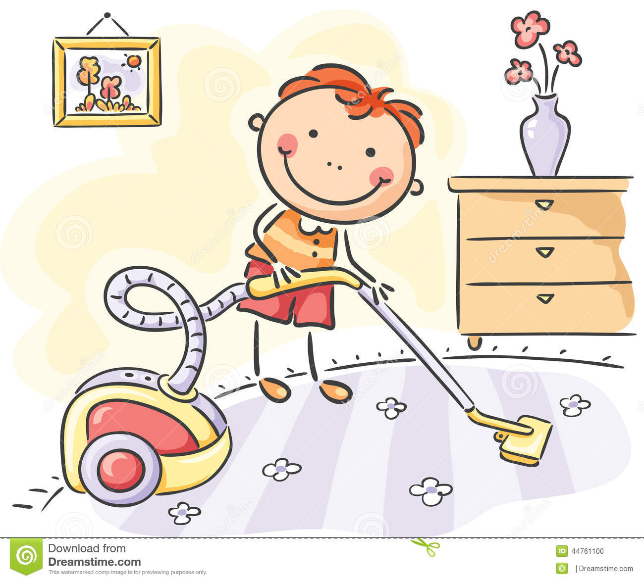 boy helping his parents with the housework stock vector
