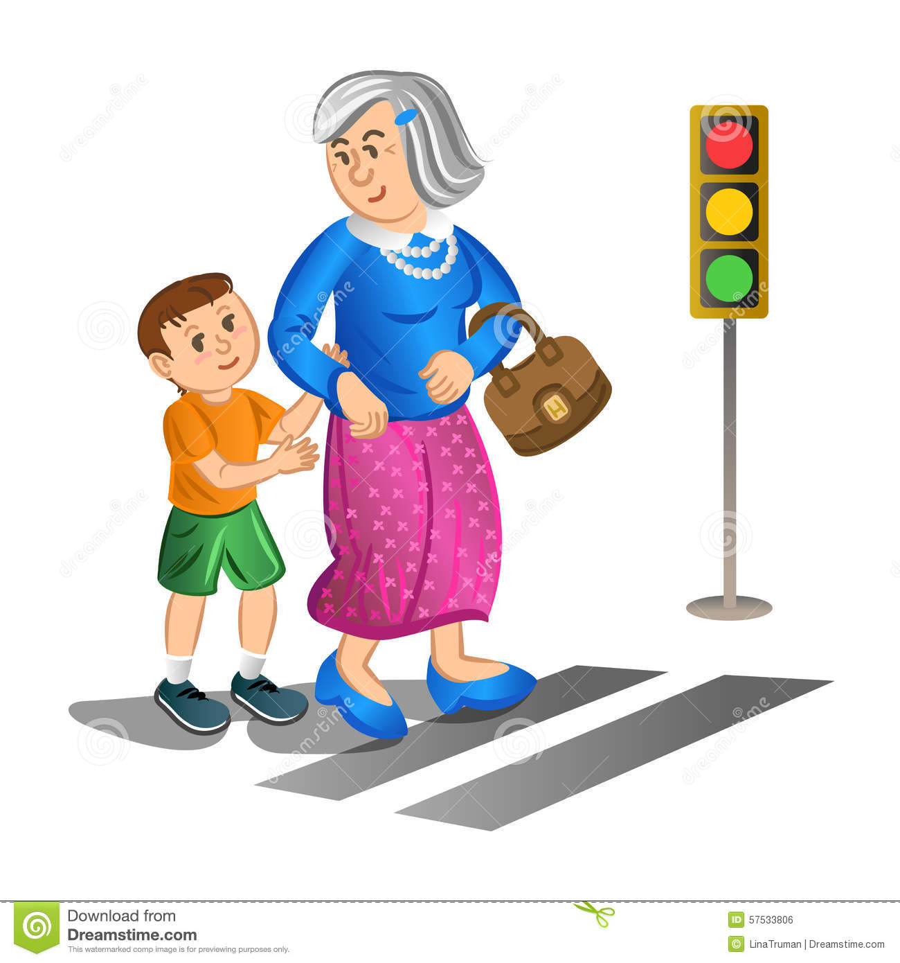 Boy Helping Old Lady Cross The Street. Vector Stock Vector ...