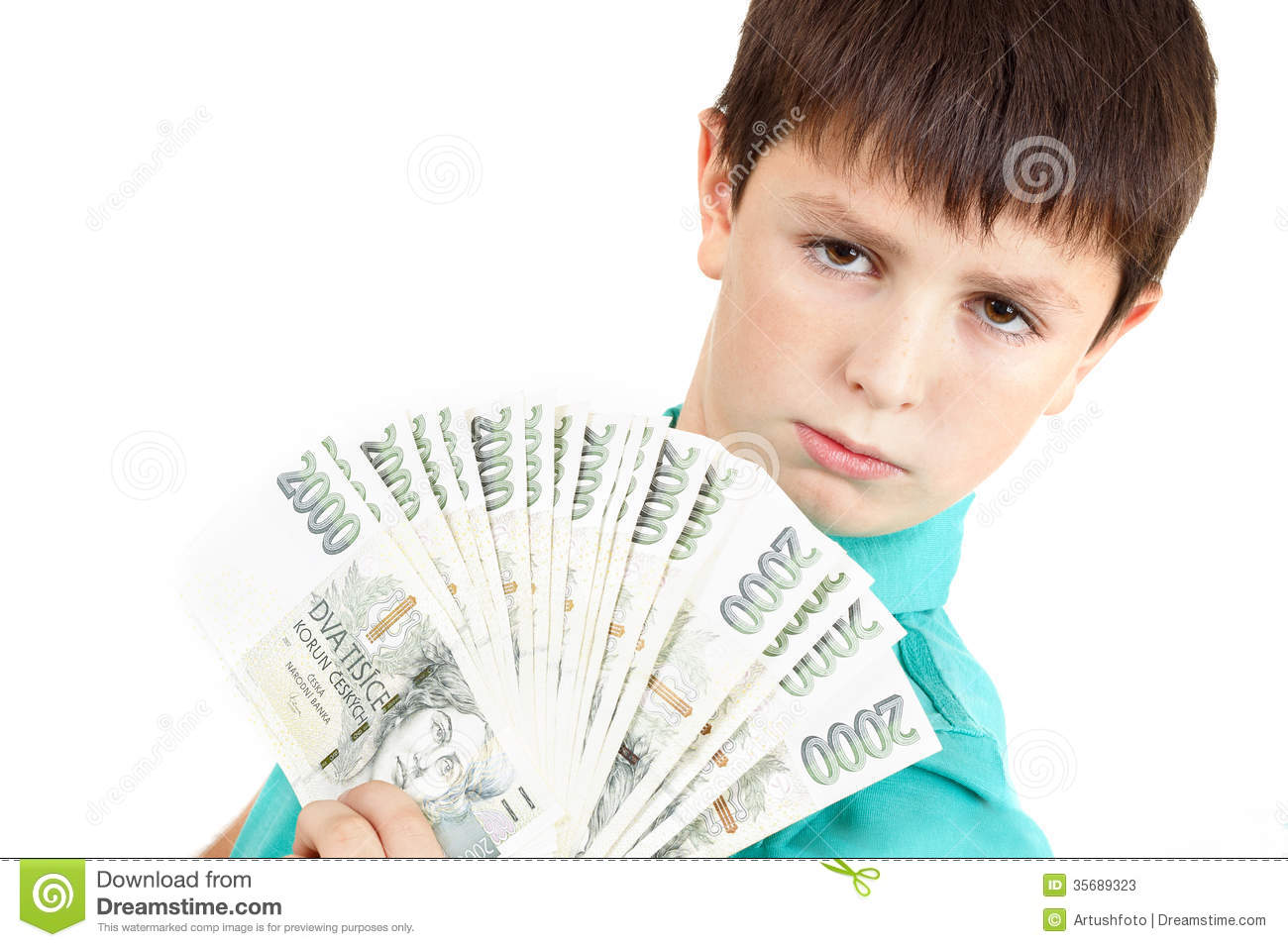 Boy Holding A Fan From Czech Crown Banknotes Stock Photos