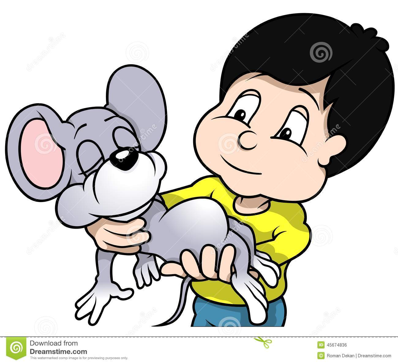 Boy Holding Mouse Stock Vector Image 45674836