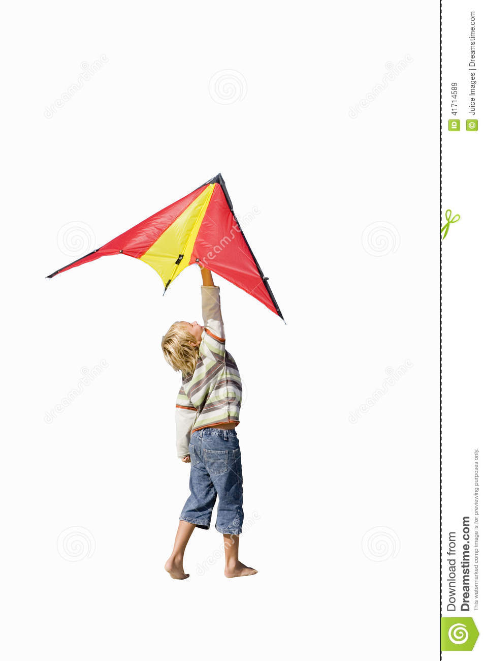 boy holding up kite side view cut out stock photo image 41714589