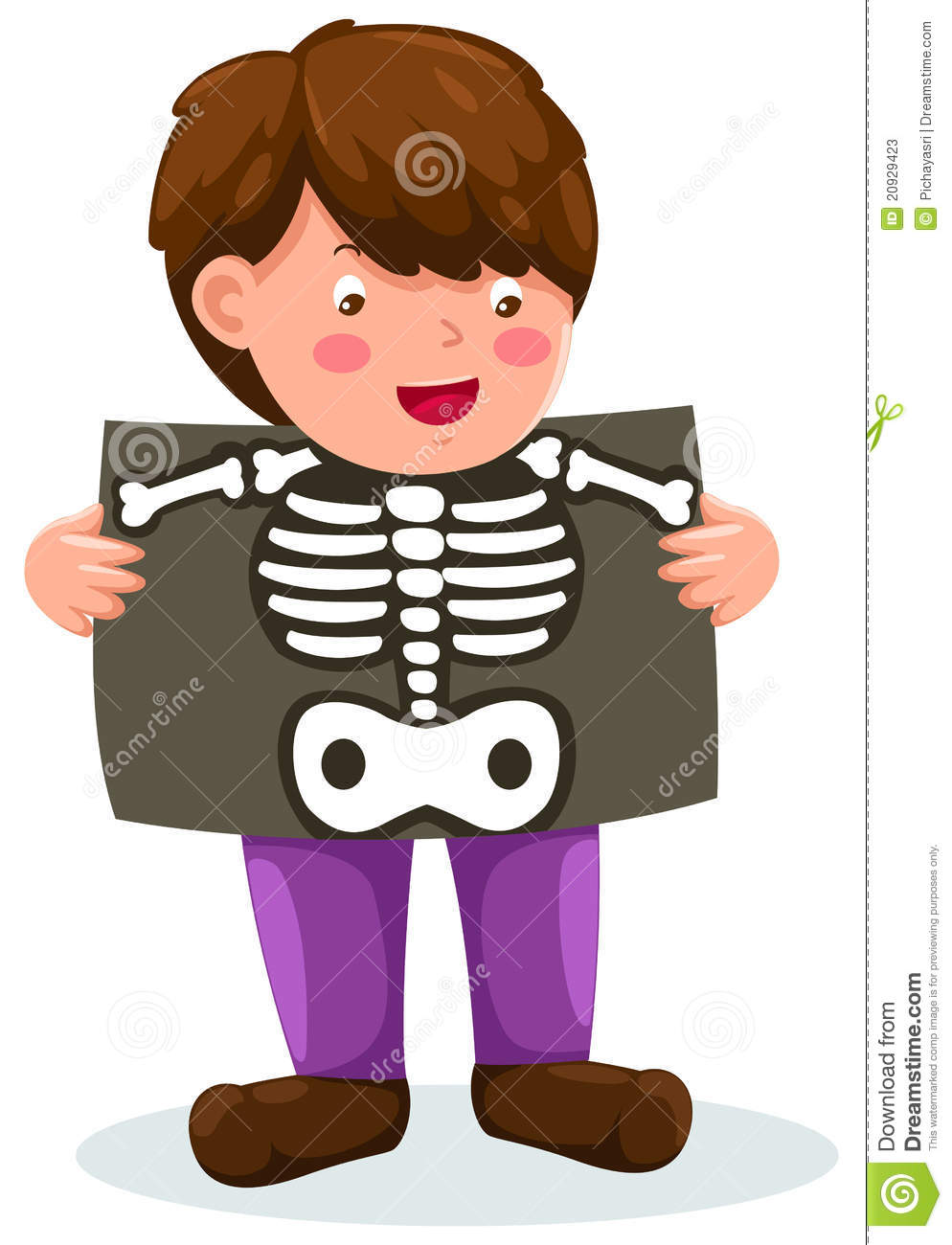 Illustration of isolated boy holding x-ray on white.