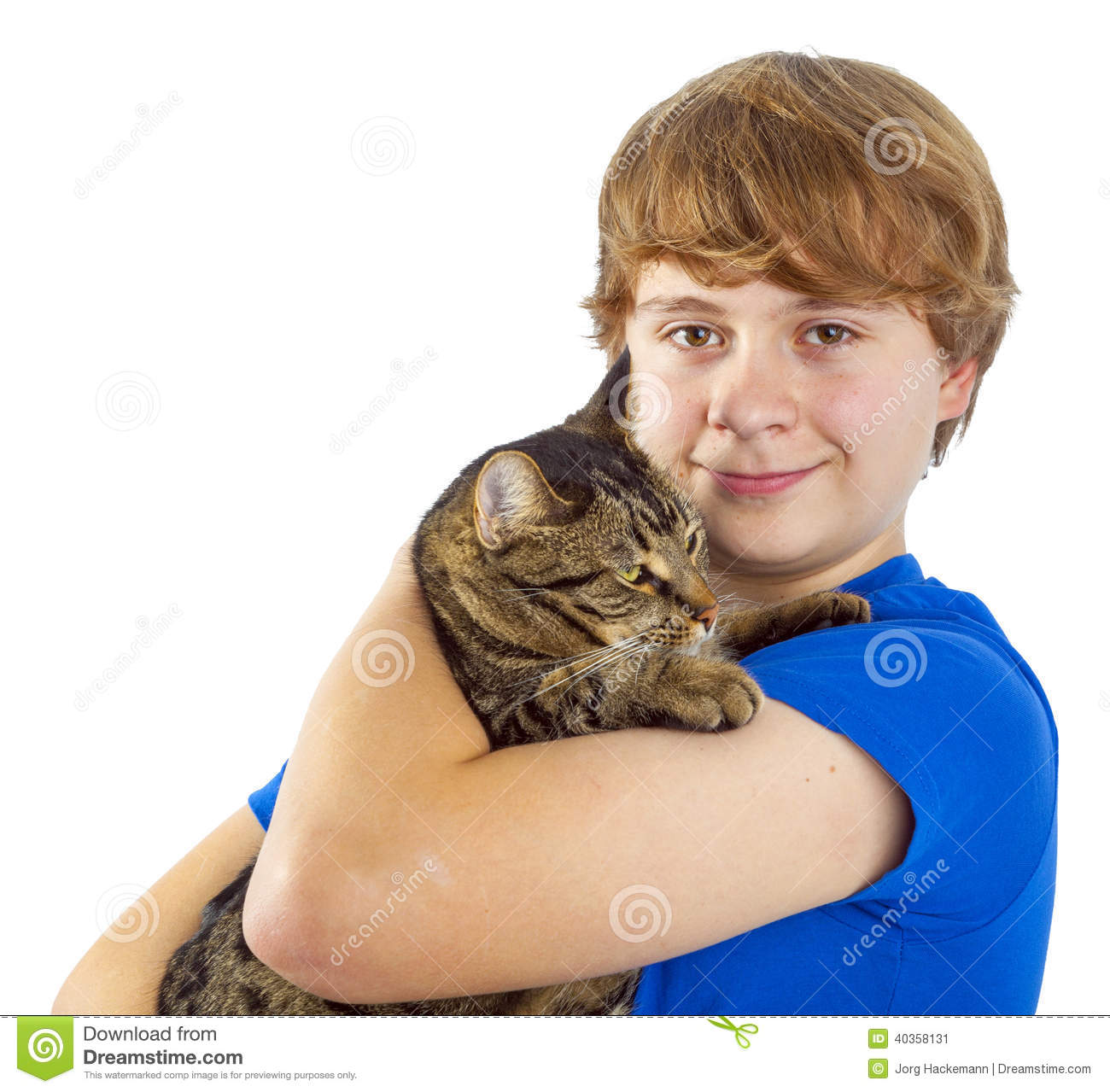 Boy Hugging His Cat Stock Image. Image Of Puberty, Youth