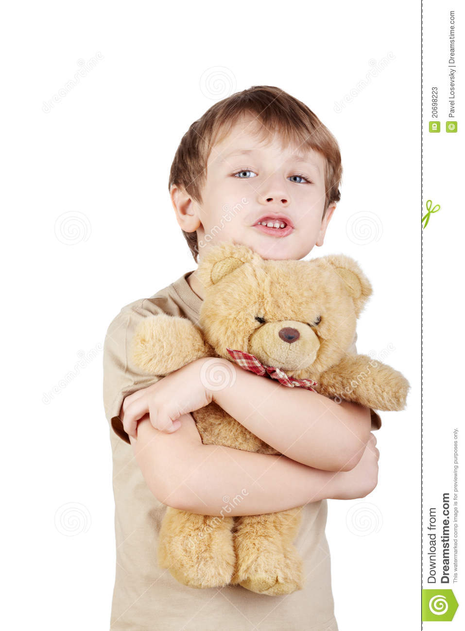 Boy Hugs Bear-toy And Says Something. Stock Photos - Image