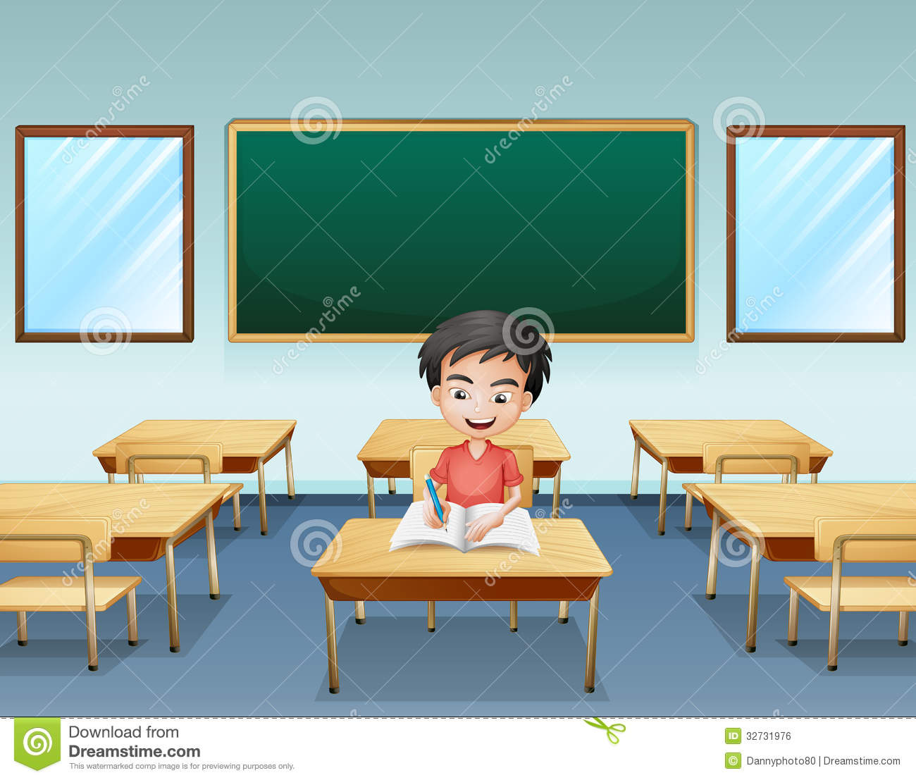 Elementary Classroom Clipart ~ A boy inside classroom with an empty board at the back
