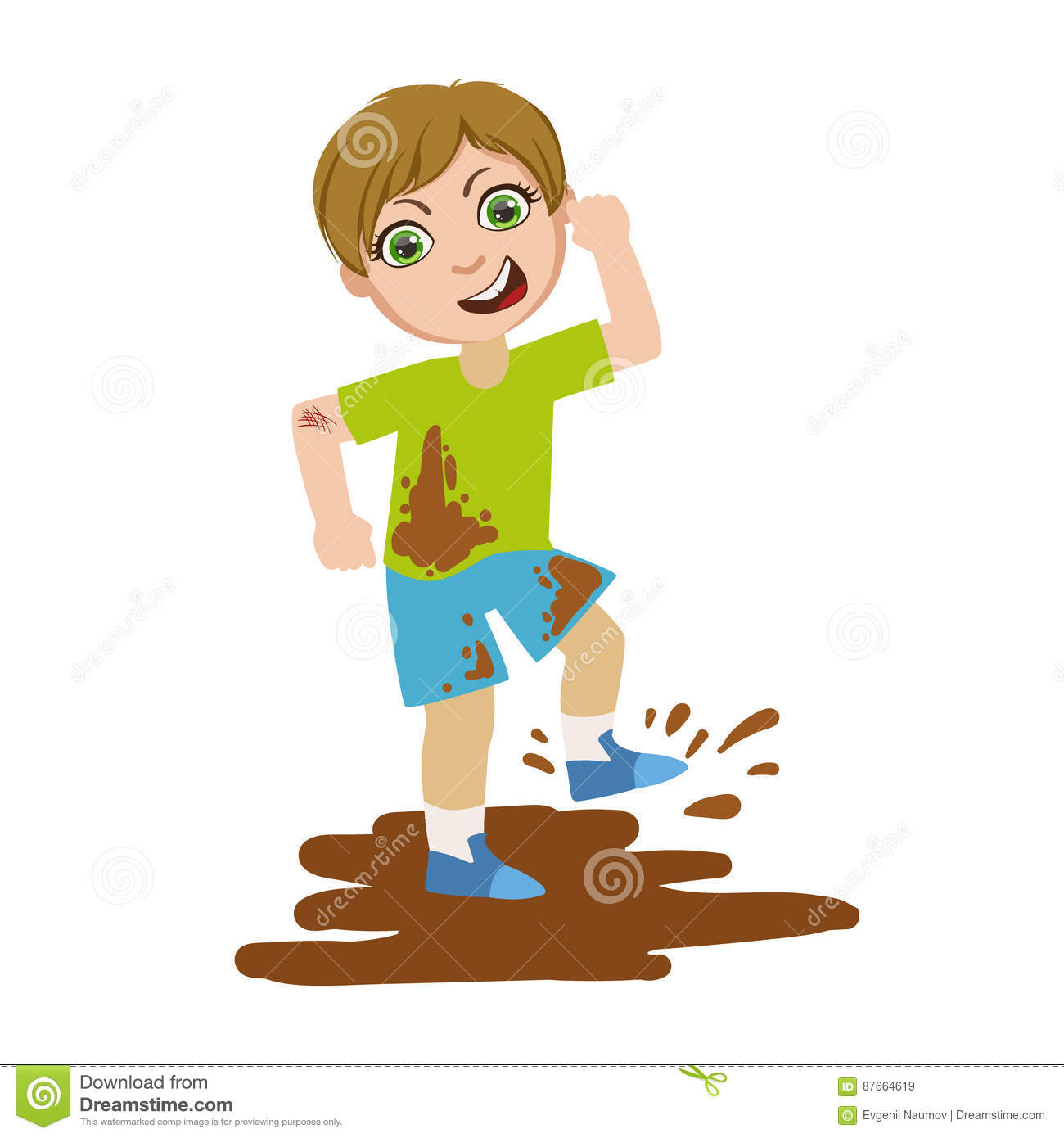 Boy Jumping In Dirt, Part Of Bad Kids Behavior And Bullies Series Of Vector Illustrations With Characters Being Rude And