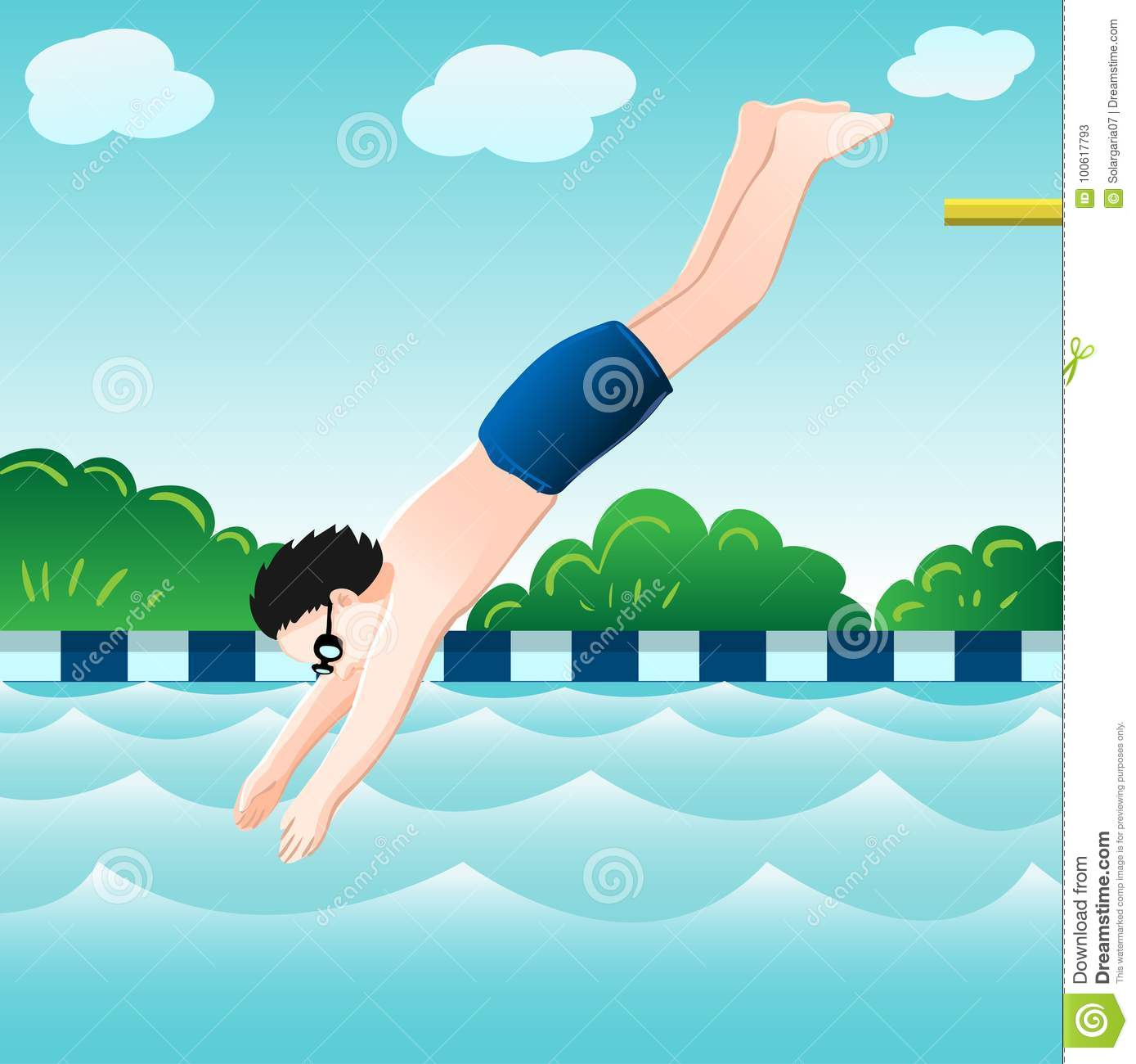 Boy Jumping, Into Water In Pool-Vector Illustration Stock Vector