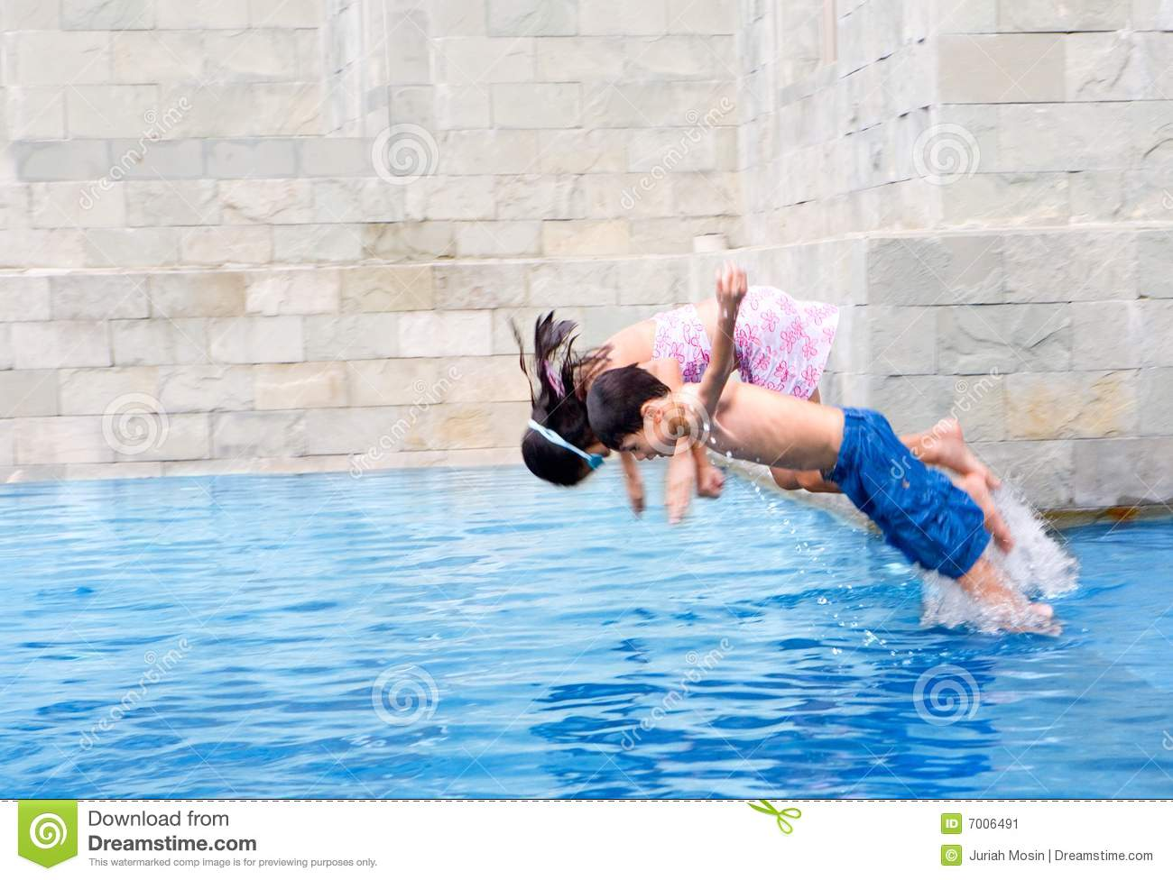 Boy Jumps In The Swimming Pool With Sister Stock Image Image 7006491