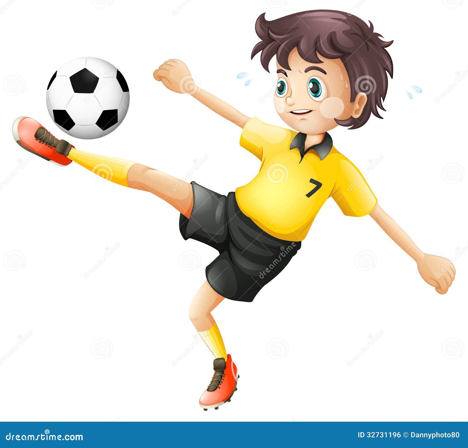 Boy Kicking Soccer Ball Clip Art