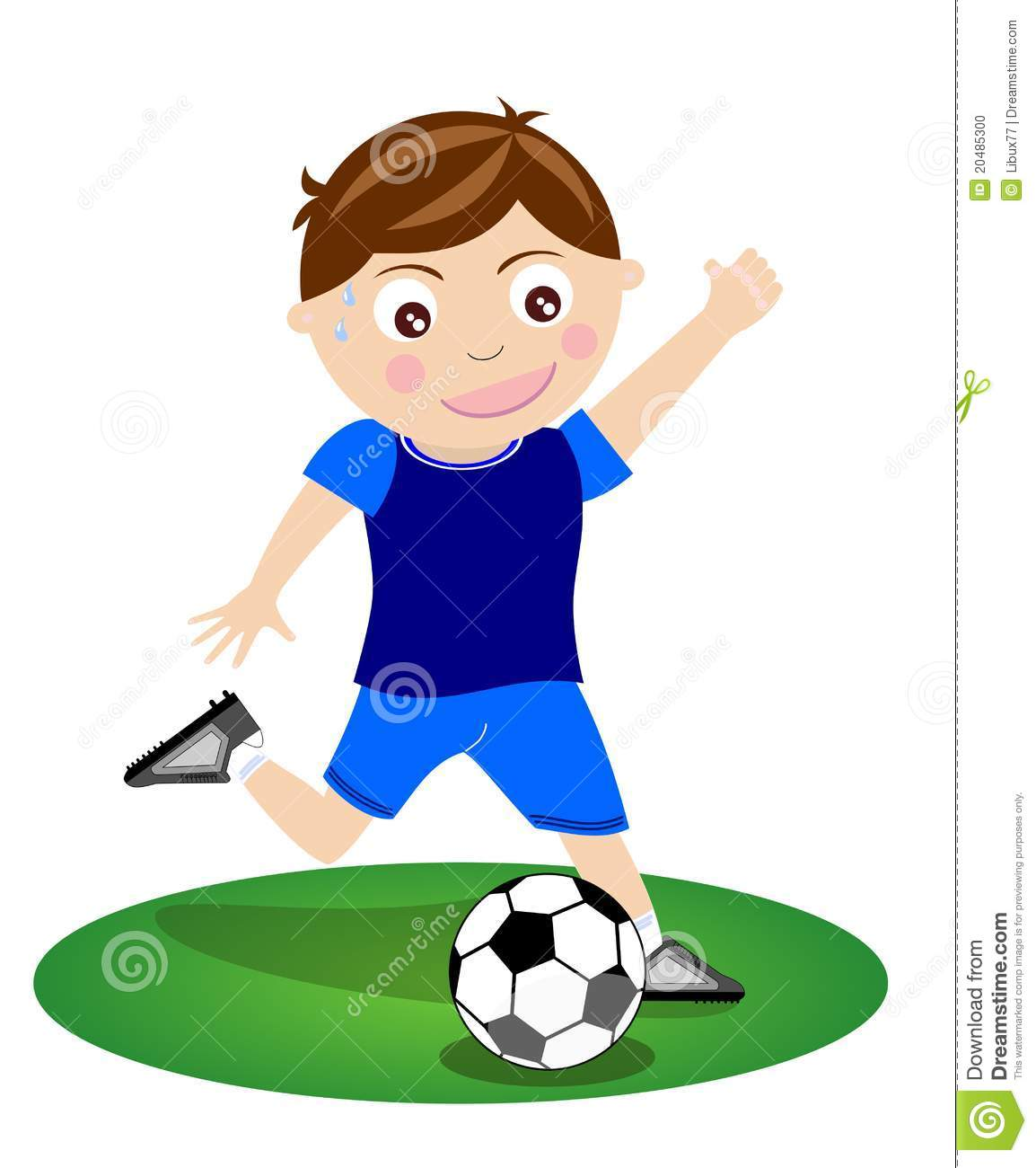 boy kicking soccer ball football isolated stock illustration
