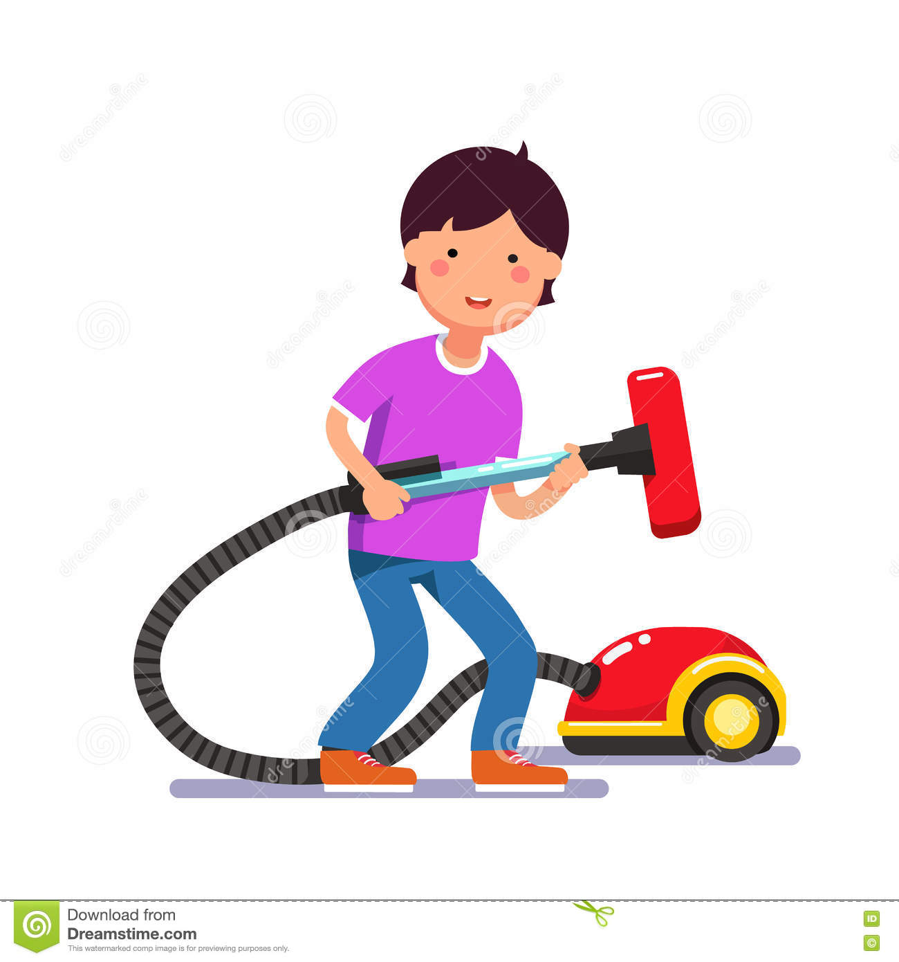 Vacuum cleaner clipart vacuum cleaner clip art - Boy Cartoon Cleaner Cleaning Electric Flat Holding Illustration Kid Pipe Vacuum