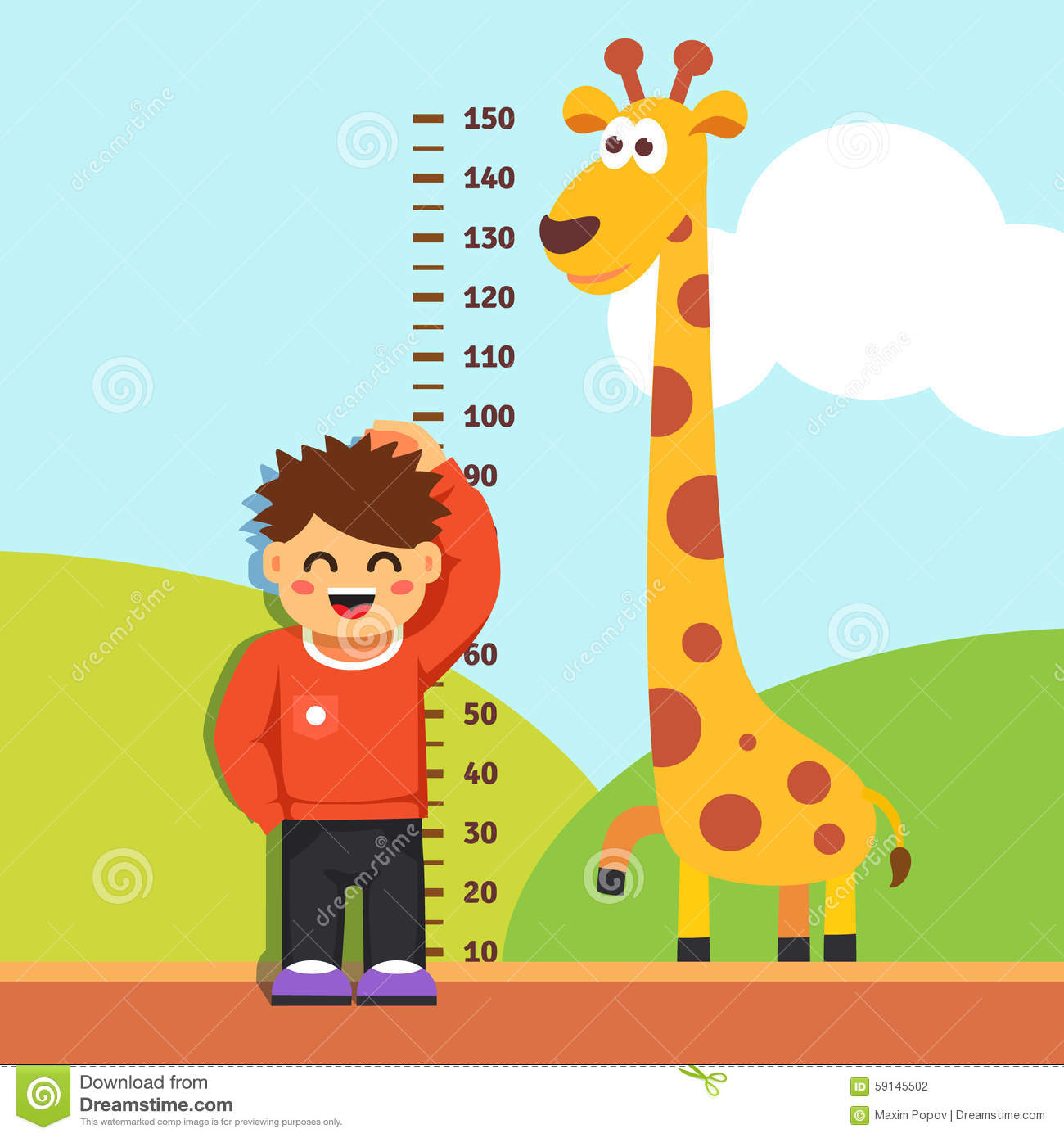 Boy Kid Measuring His Height At Kindergarten Wall Stock
