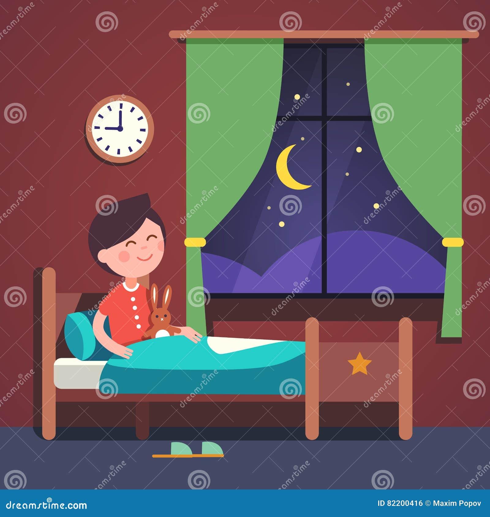 Download Boy Kid Preparing To Sleep Bedtime In His Bed Stock Vector
