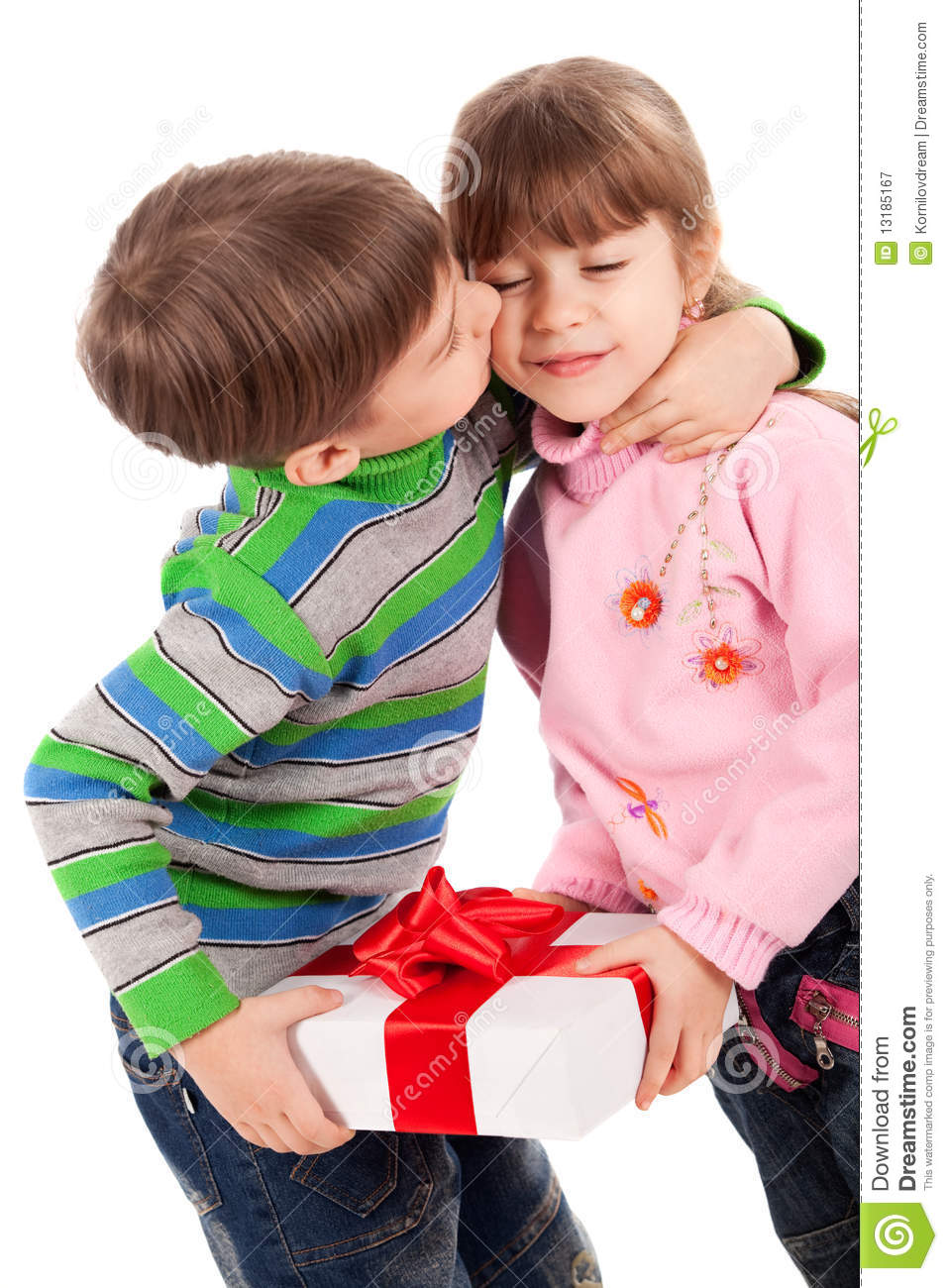 Boy kissing a girl holding gift box stock image image of gift boy kissing a girl holding gift box altavistaventures Images