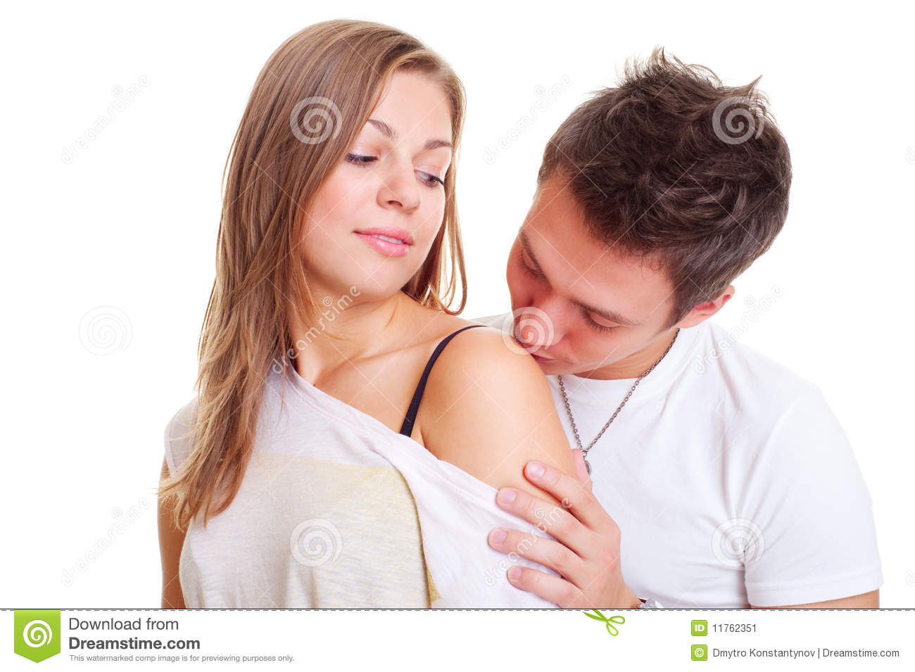 boy kissing his girl in shoulder stock image image of