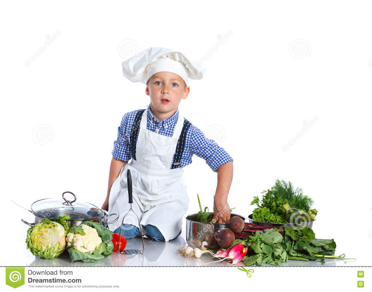 Boy Kitchener In Chef S Hat Stock Image Image Of Funny Health