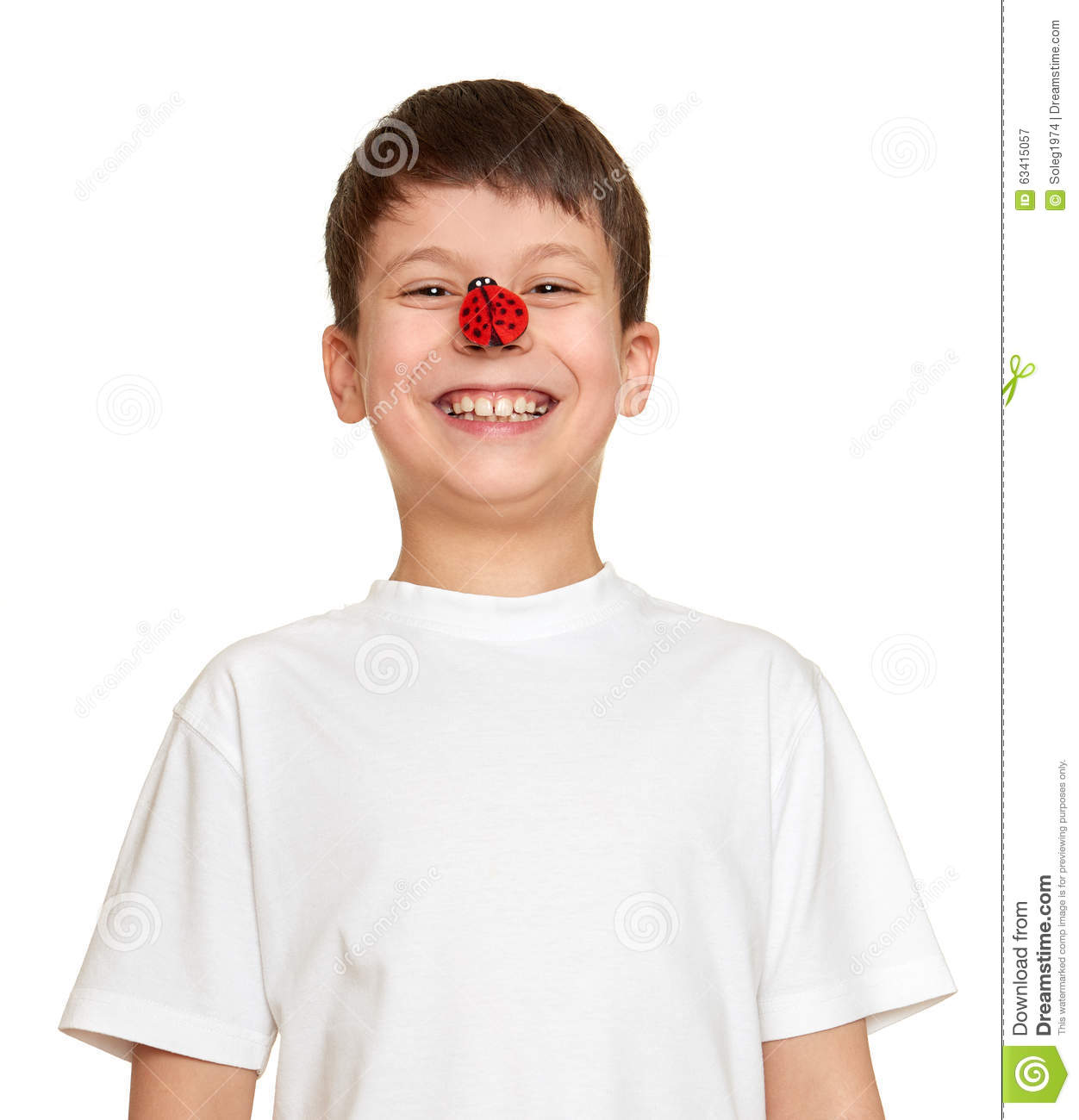 32baf525443 Boy with ladybug look on nose and make faces