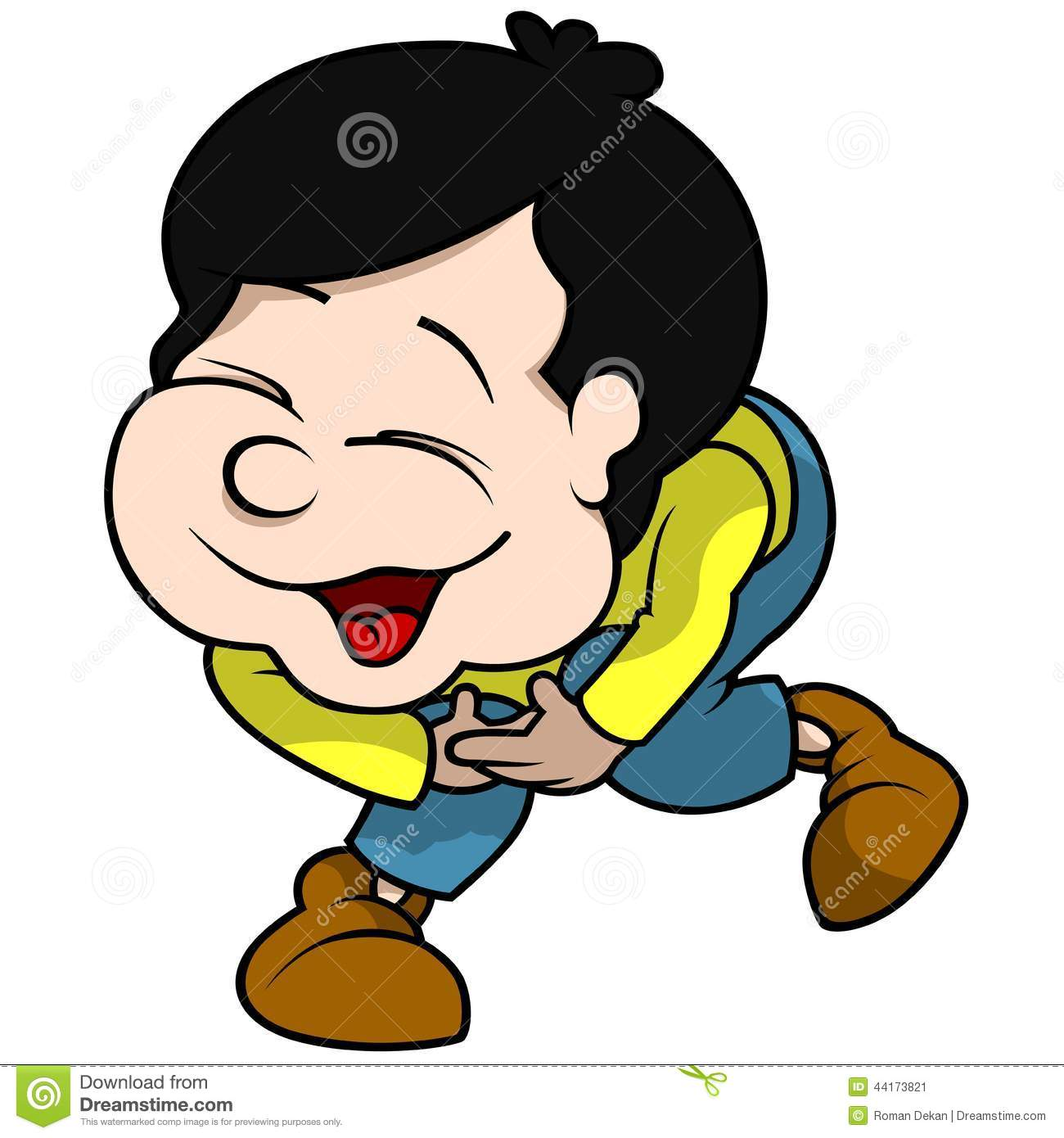 Boy Laughing - Cartoon Illustration, Vector.