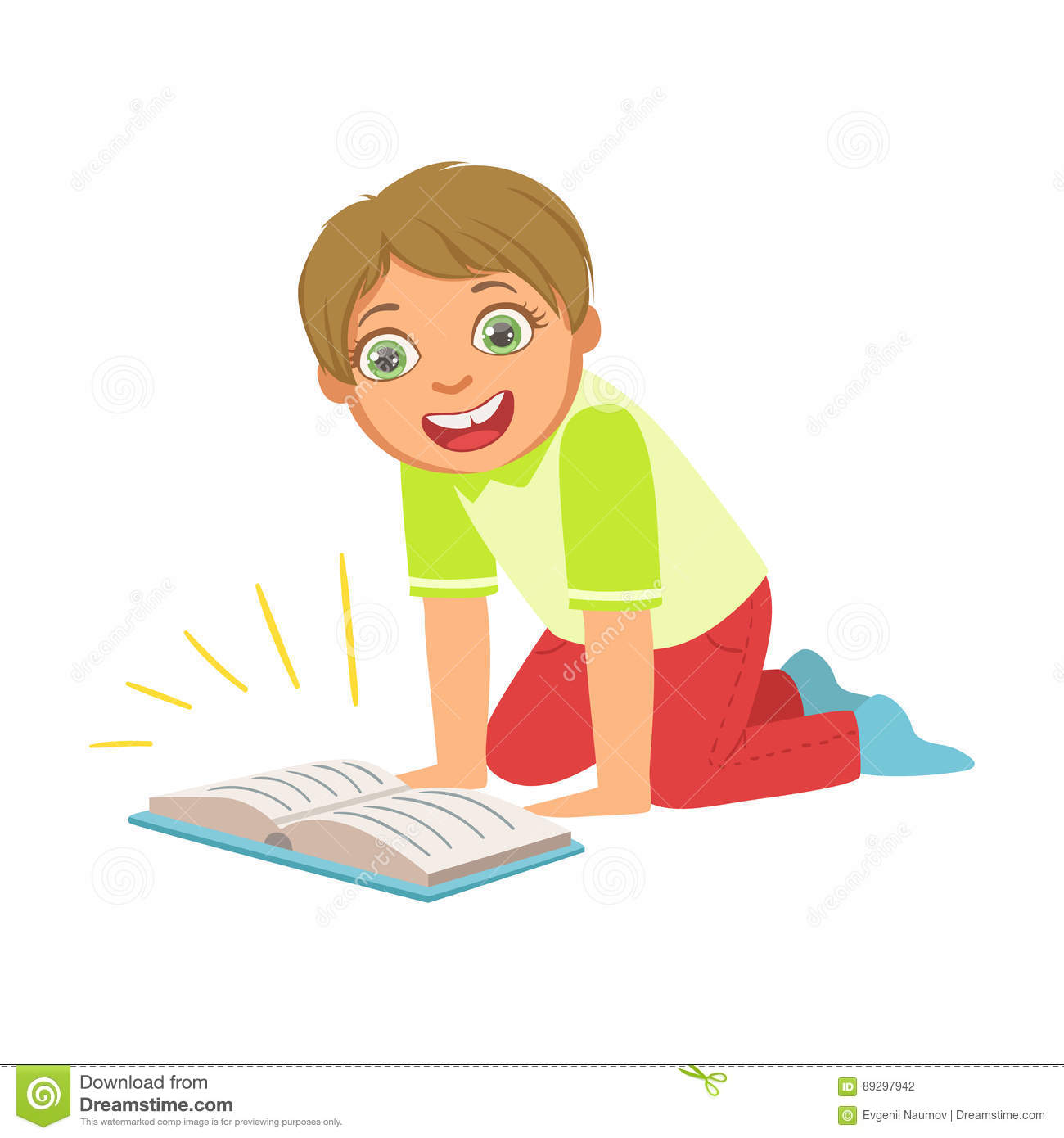 Kids Boy Reading Book Cartoon Vector | CartoonDealer.com ...