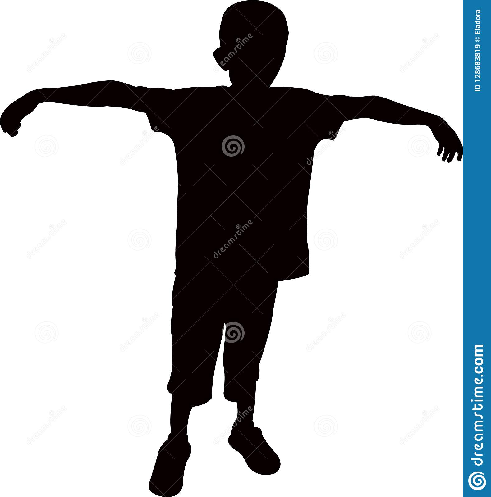 A Boy Lifting His Hands, Standing Body, Silhouette Vector ...