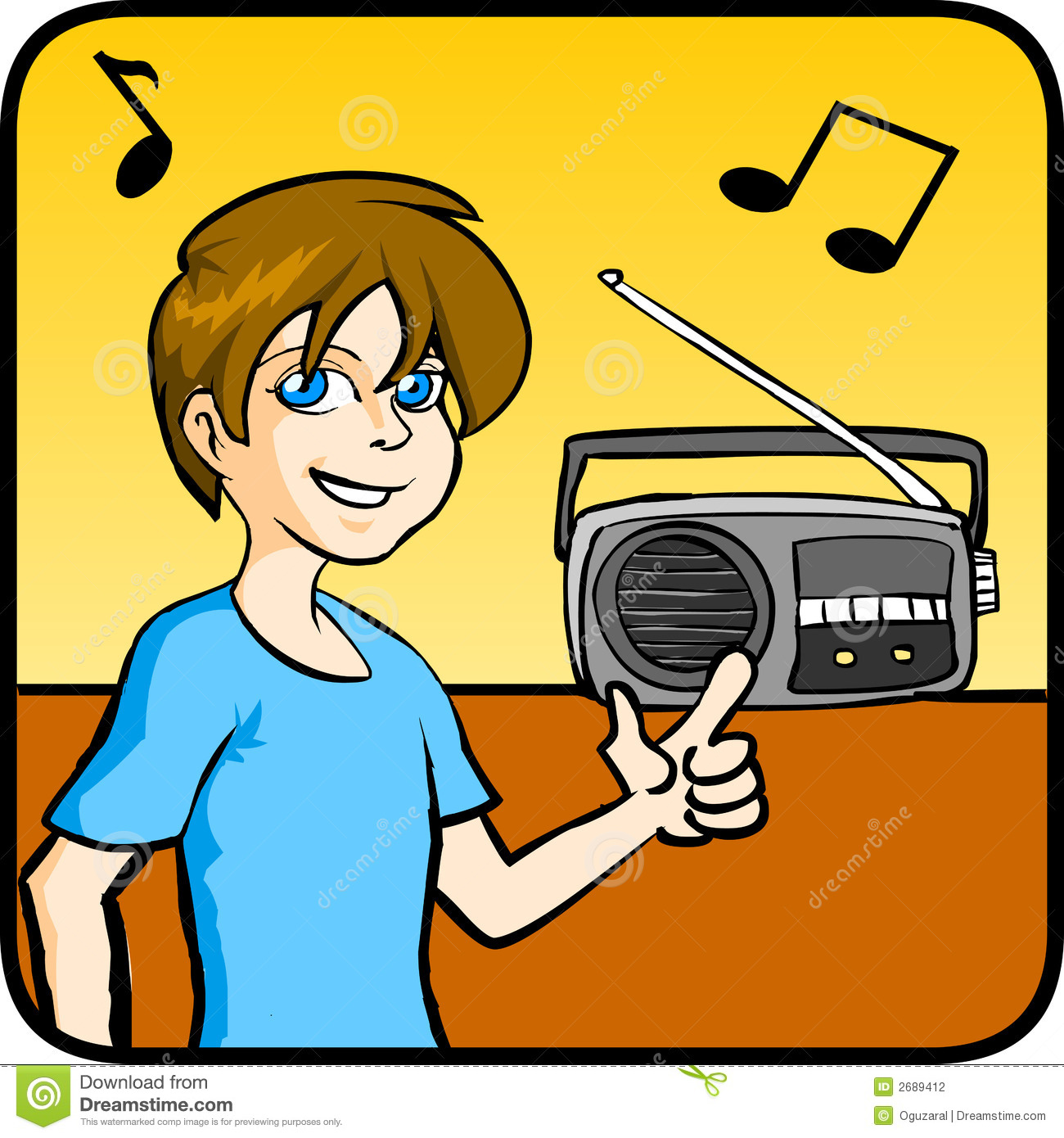 Boy Listening Music stock vector. Illustration of young ...