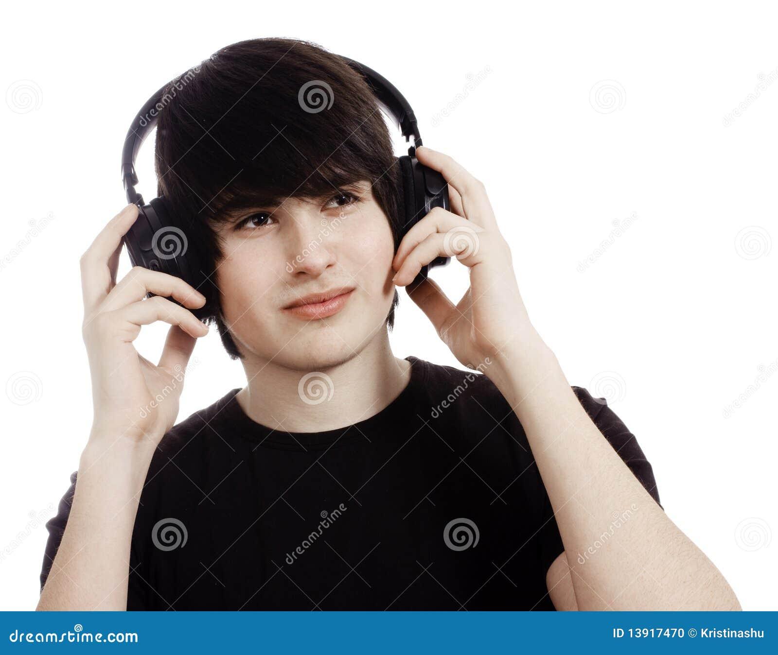 Boy Listening To Music On Headphones Stock Photo - Image ...