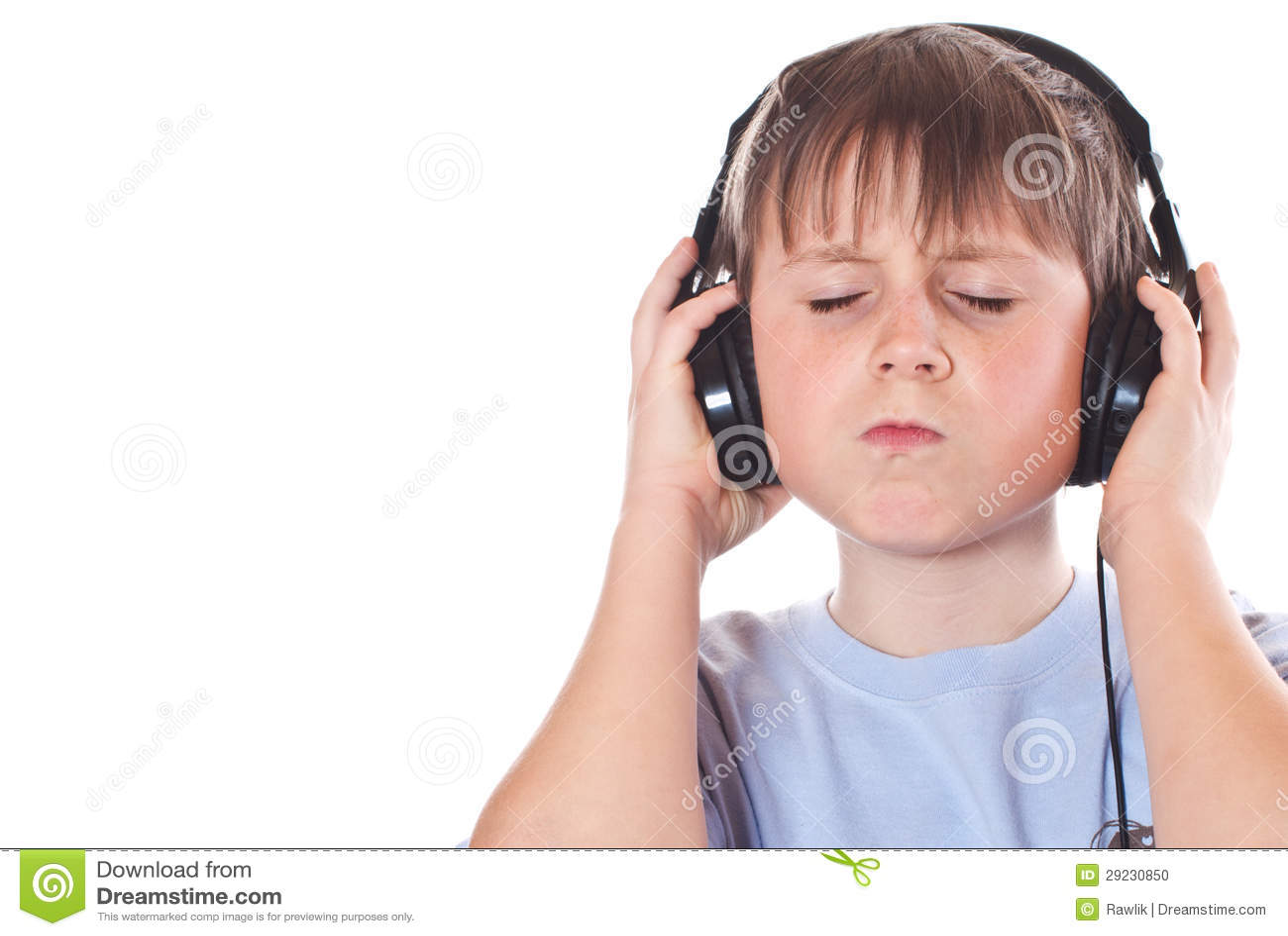 Boy Listening To Music With Headphones Stock Photo - Image ...