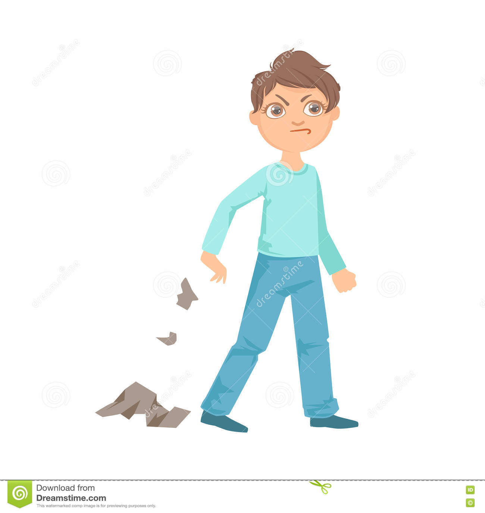 Boy Littering Teenage Bully Demonstrating Mischievous Uncontrollable Delinquent Behavior Cartoon Illustration
