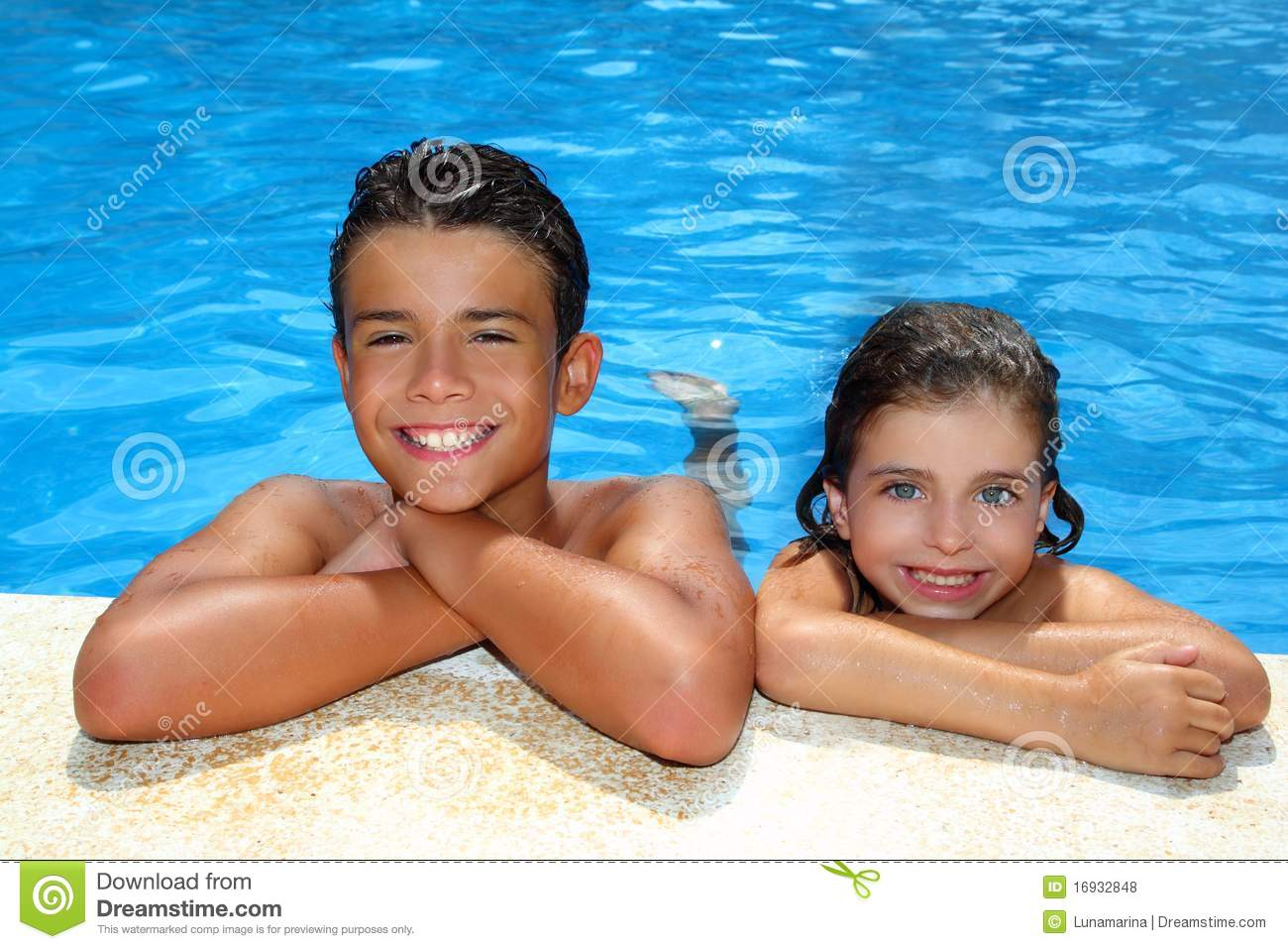 Boy And Little Girl Summer Vacation In Pool Stock Photo ...