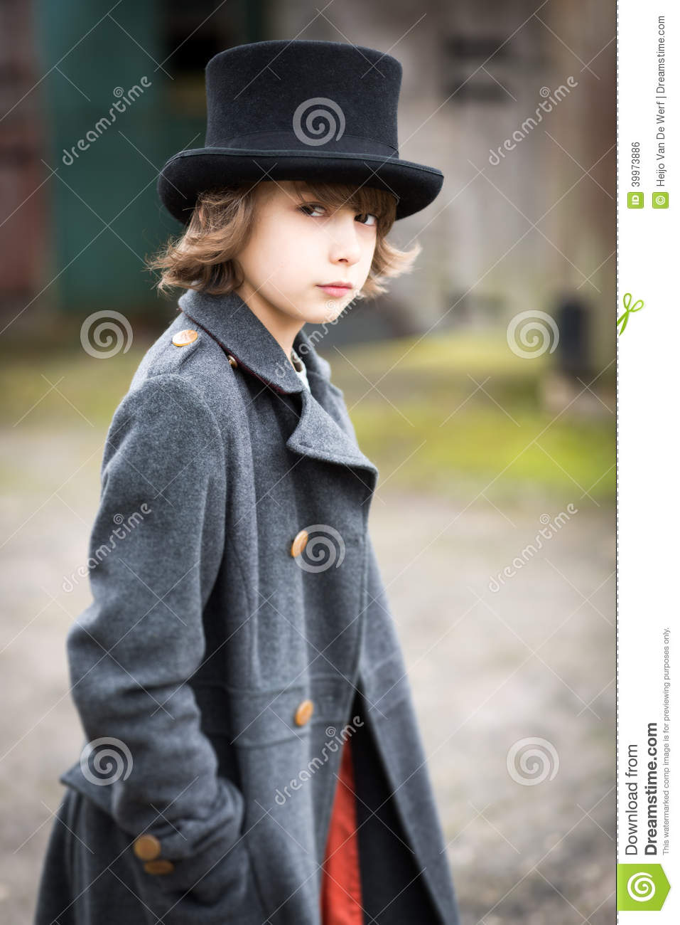 27585edec Boy In Long Coat And Top Hat Stock Photo - Image of fiction ...