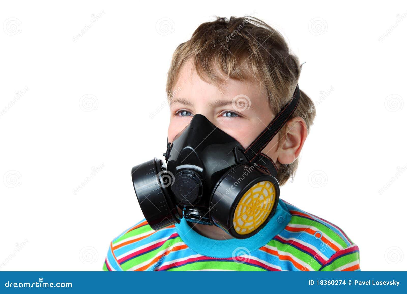 Boy look toward in black respirator