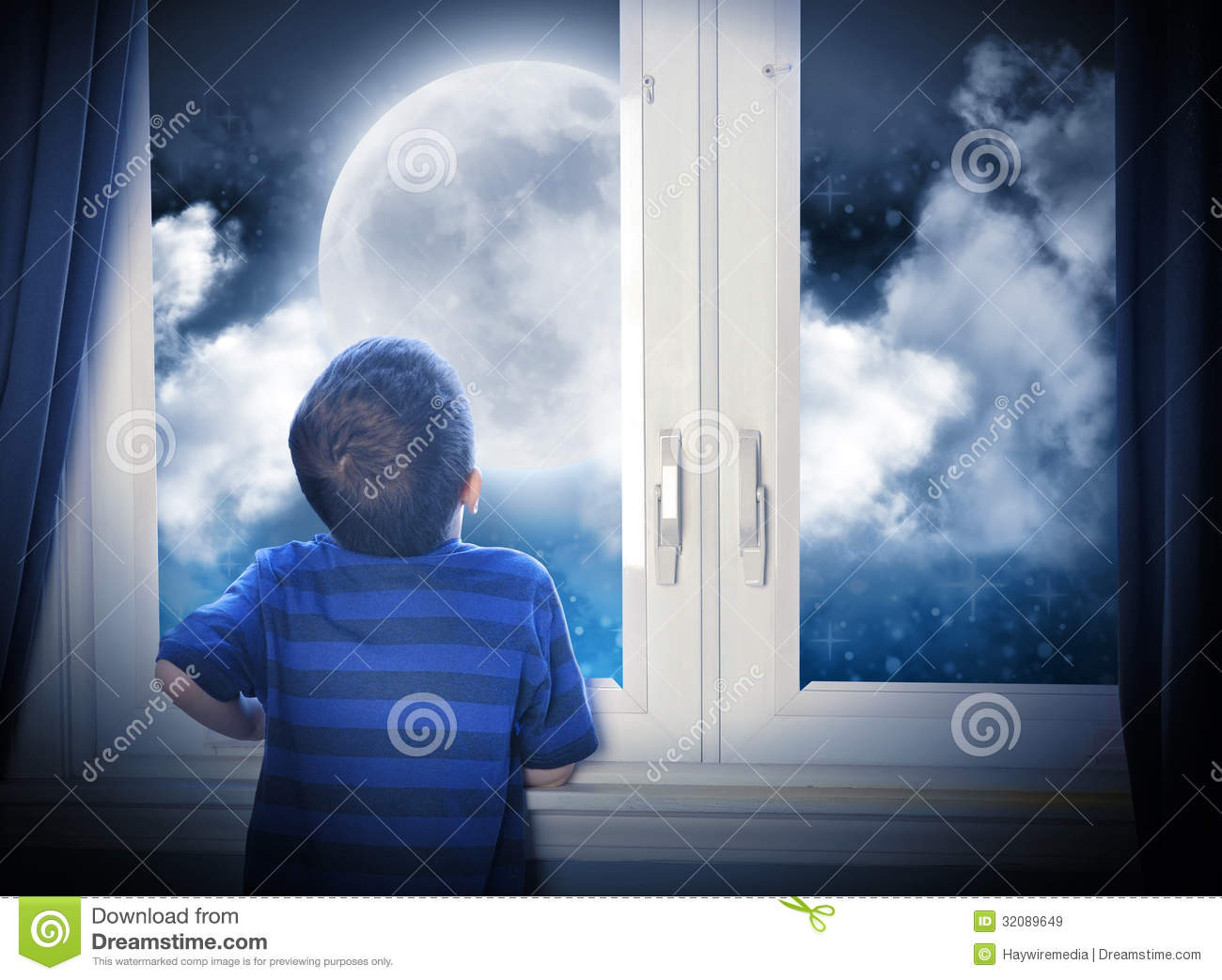 Sky Blue Bedroom Boy Looking At Night Moon And Stars Royalty Free Stock