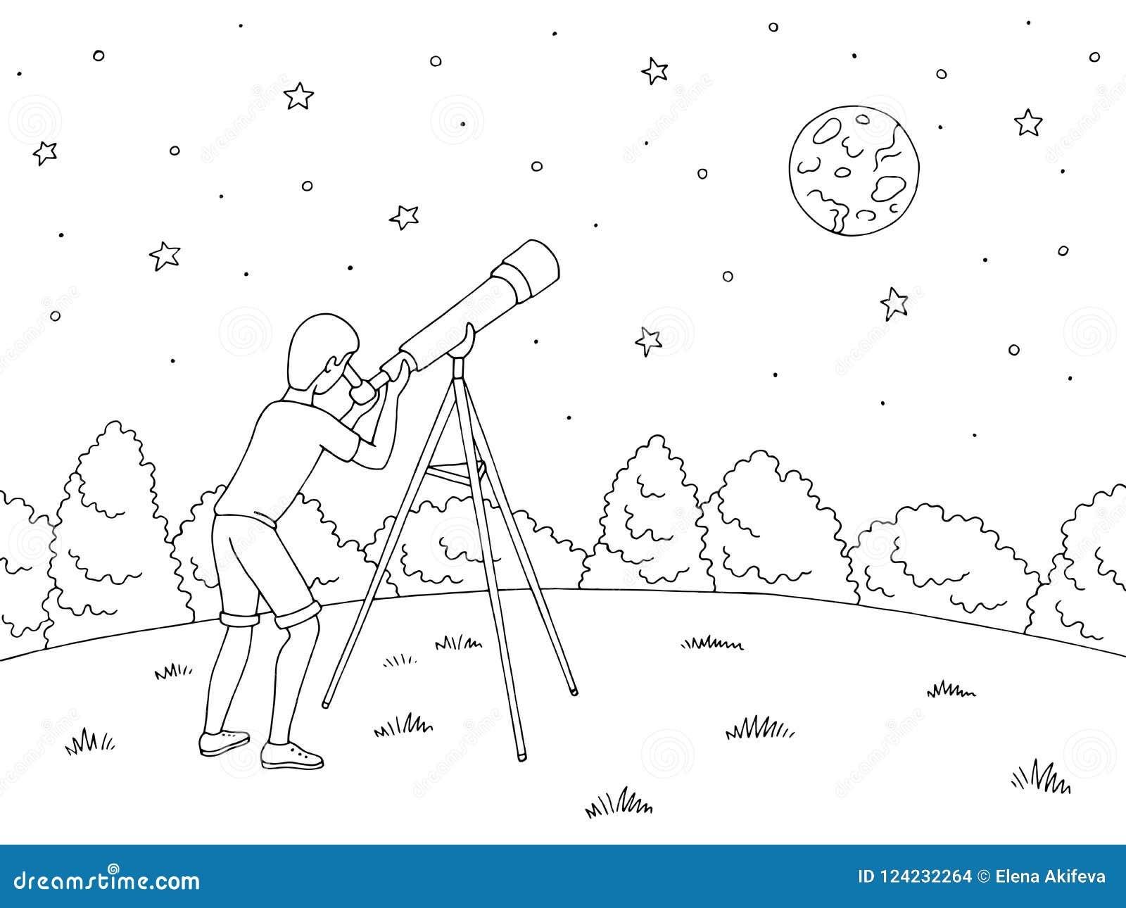 Looking Stars Telescope Stock Illustrations – 232 Looking ...