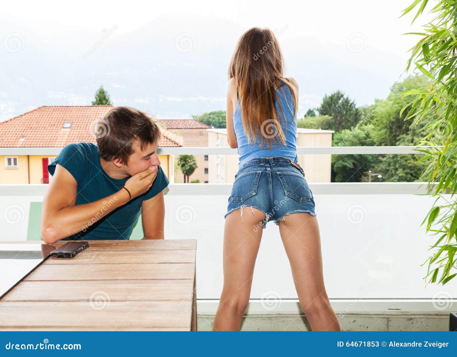Looking at girls ass