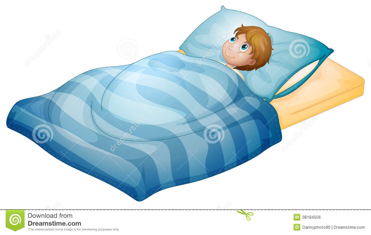 A Boy Lying In His Bed Stock Vector Illustration Of Human