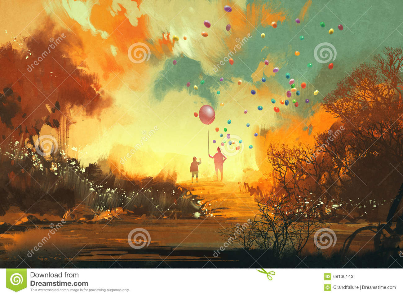 Boy and magician holding balloon standng on a path of fantasy land