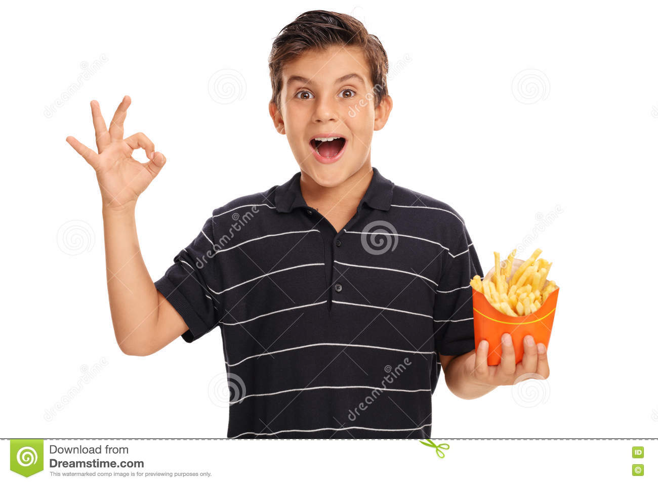 8dad45f943 Boy Making Ok Gesture And Holding Bag Of Fries Stock Image - Image ...