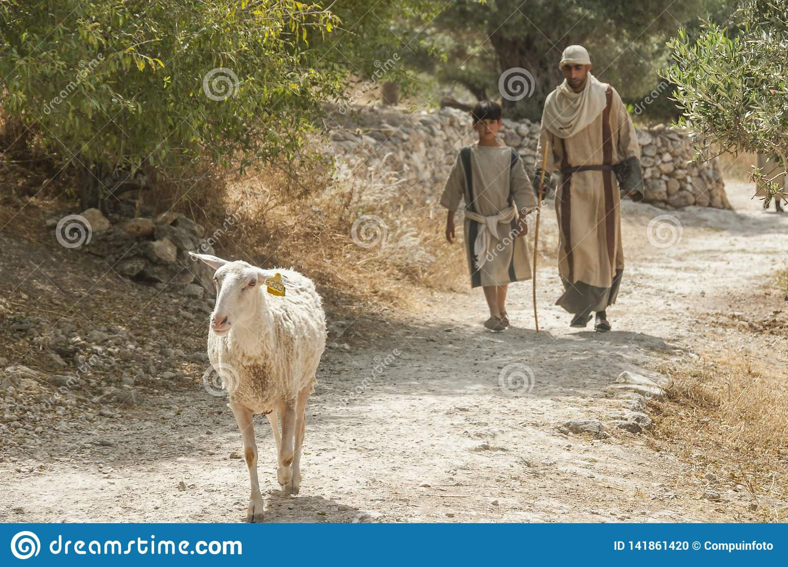Boy and man with goat in nazareth israel