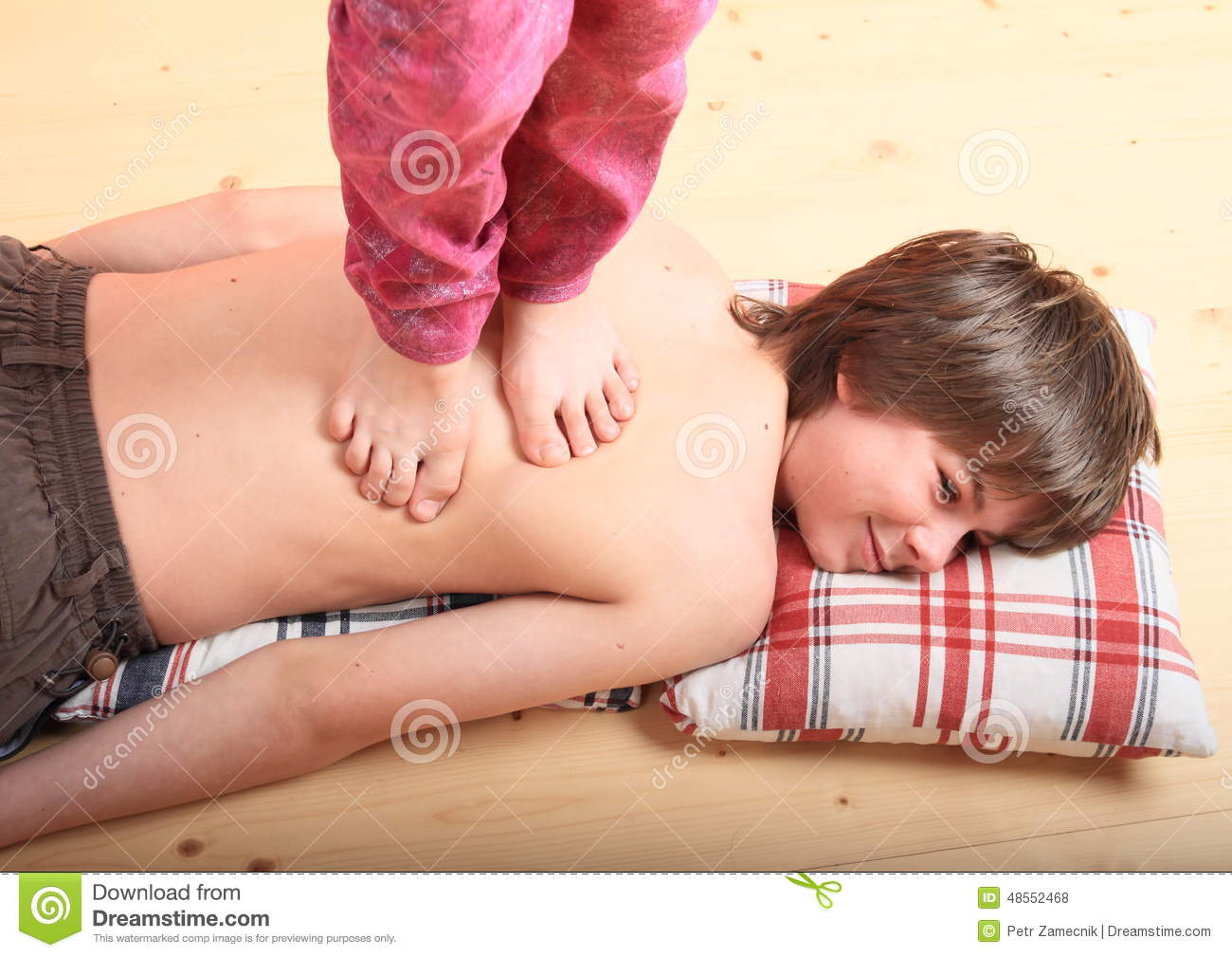 Boy Massaged By A Girl Stock Photo Image Of Shell -1364