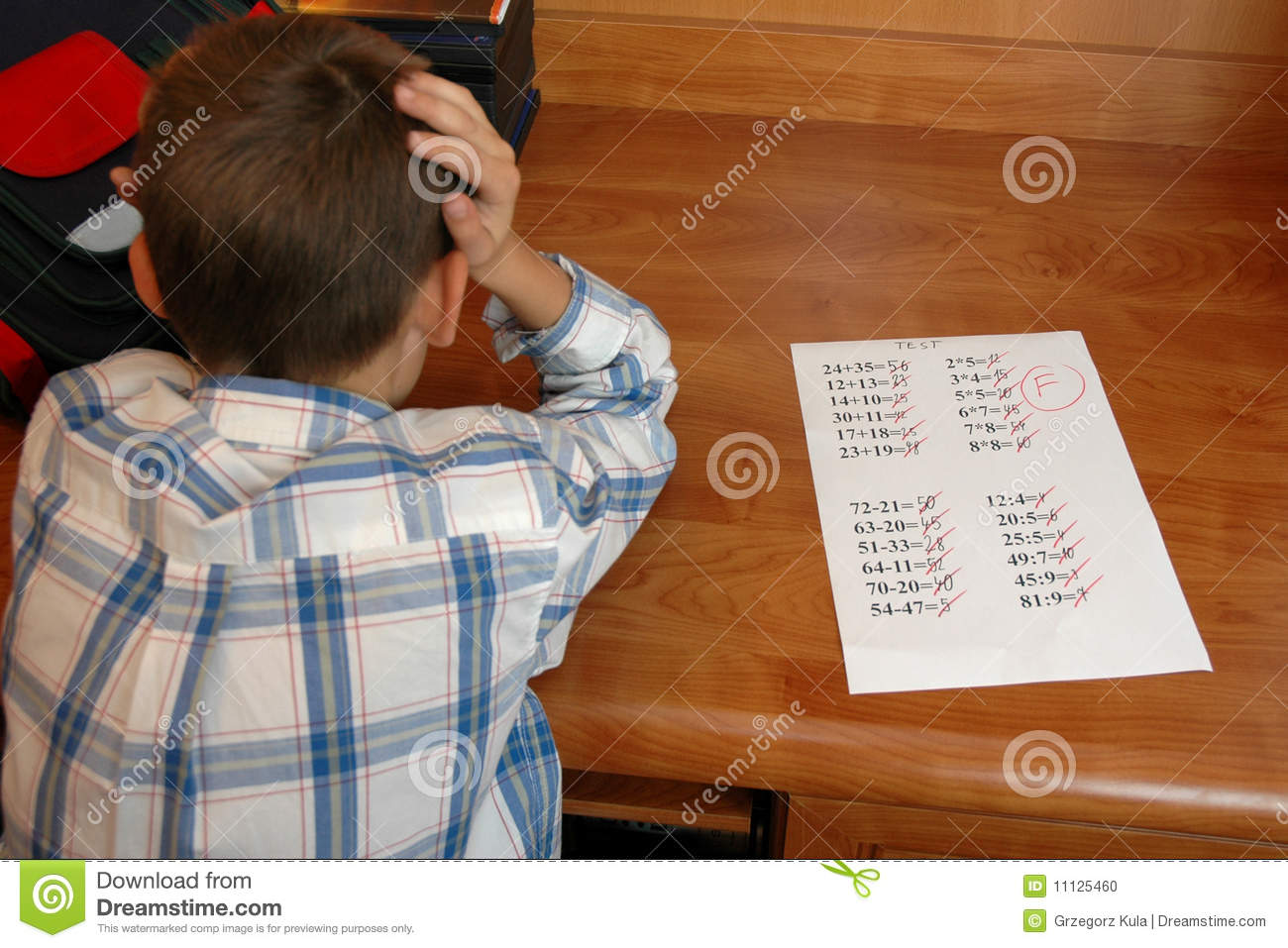 Boy With Math Test Stock Photo Image Of Test Unhappy