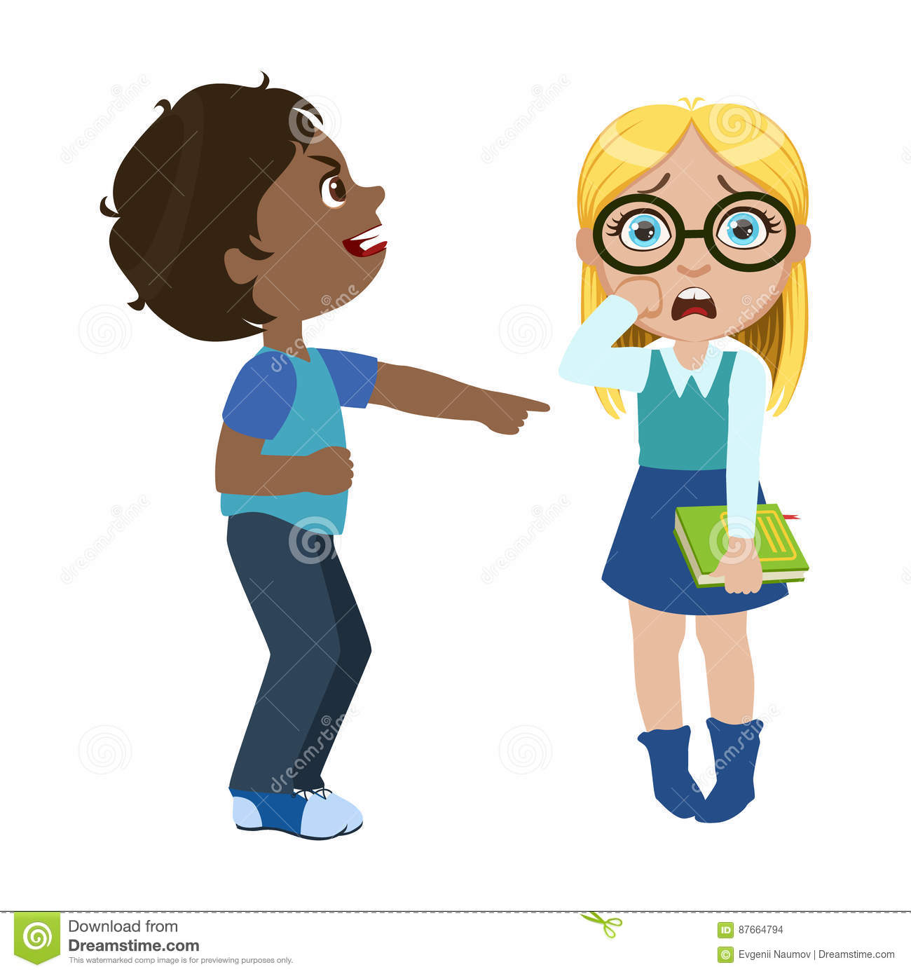 Boy Mocking A Girl, Part Of Bad Kids Behavior And Bullies Series Of Vector Illustrations With Characters Being Rude And